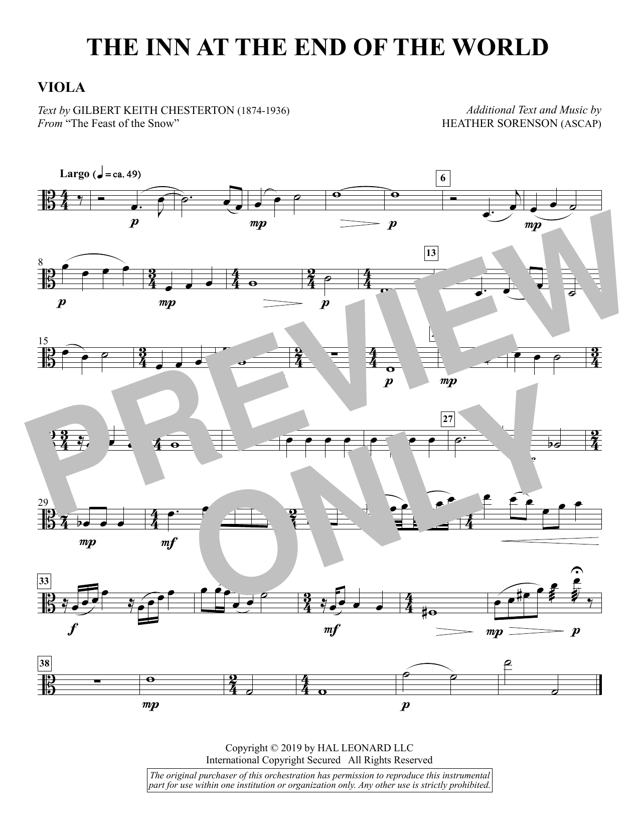 The Inn at the End of the World (arr. Heather Sorenson) - Viola Sheet Music