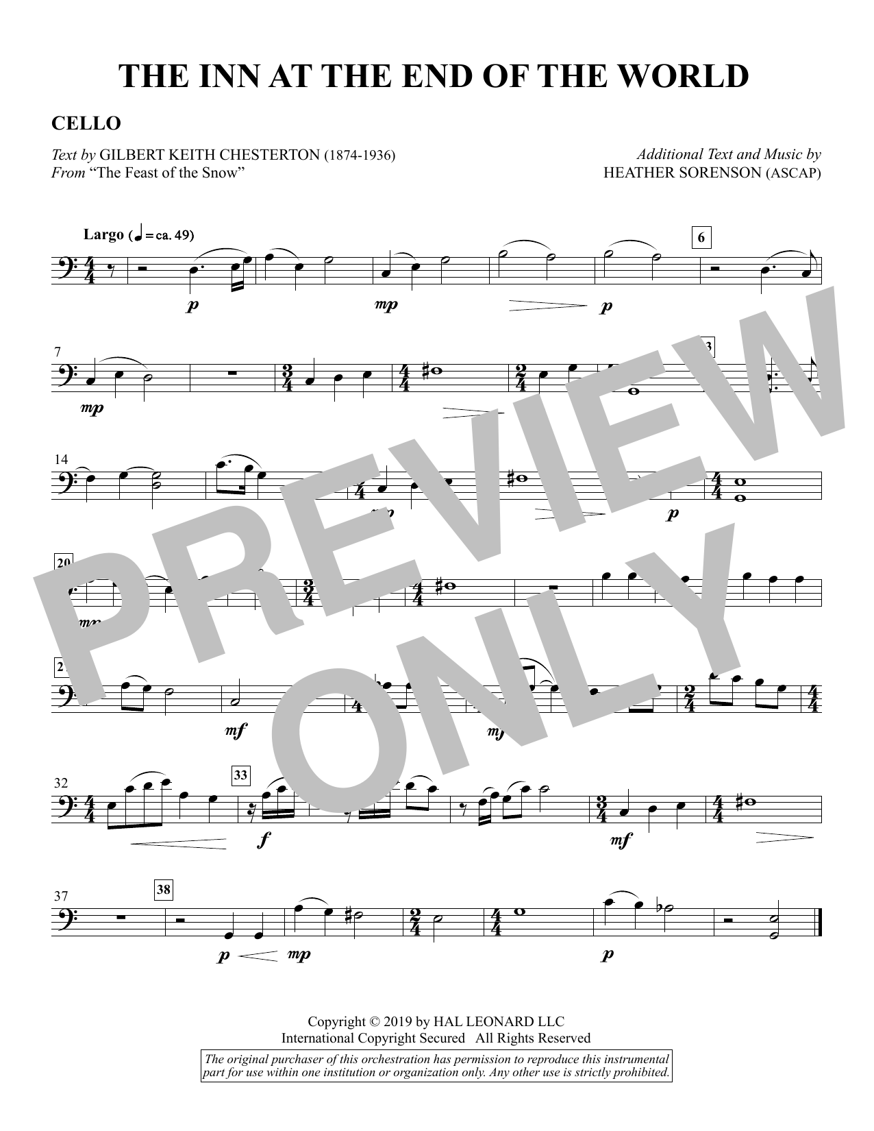 The Inn at the End of the World (arr. Heather Sorenson) - Cello Sheet Music