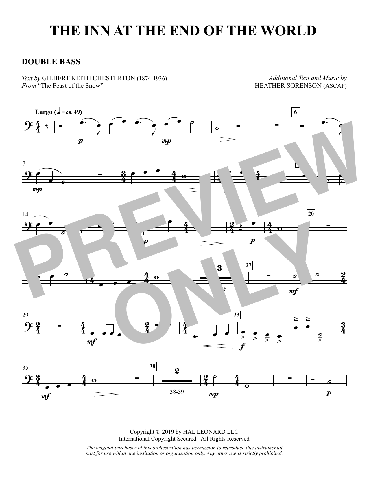 The Inn at the End of the World (arr. Heather Sorenson) - Double Bass Sheet Music