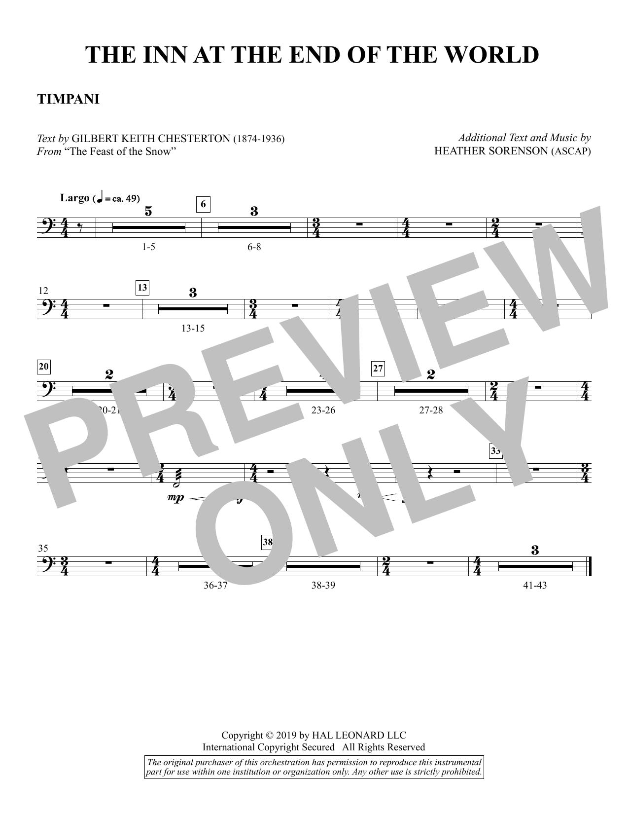 The Inn at the End of the World (arr. Heather Sorenson) - Timpani Sheet Music