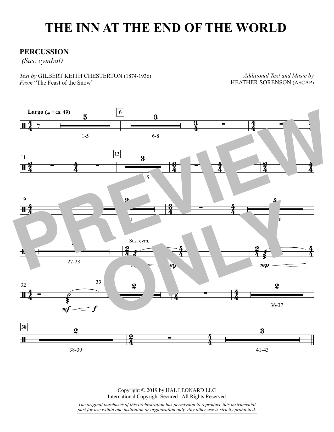 The Inn at the End of the World (arr. Heather Sorenson) - Percussion Sheet Music