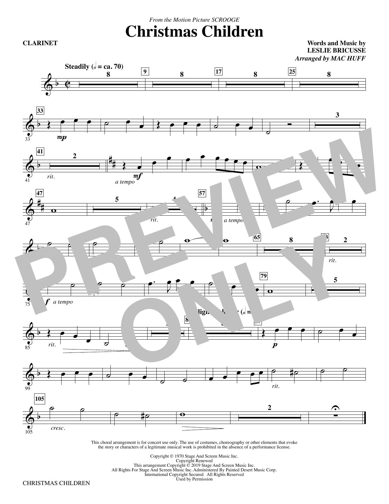 Christmas Children (from Scrooge) (arr. Mac Huff) - Clarinet (Choir Instrumental Pak)
