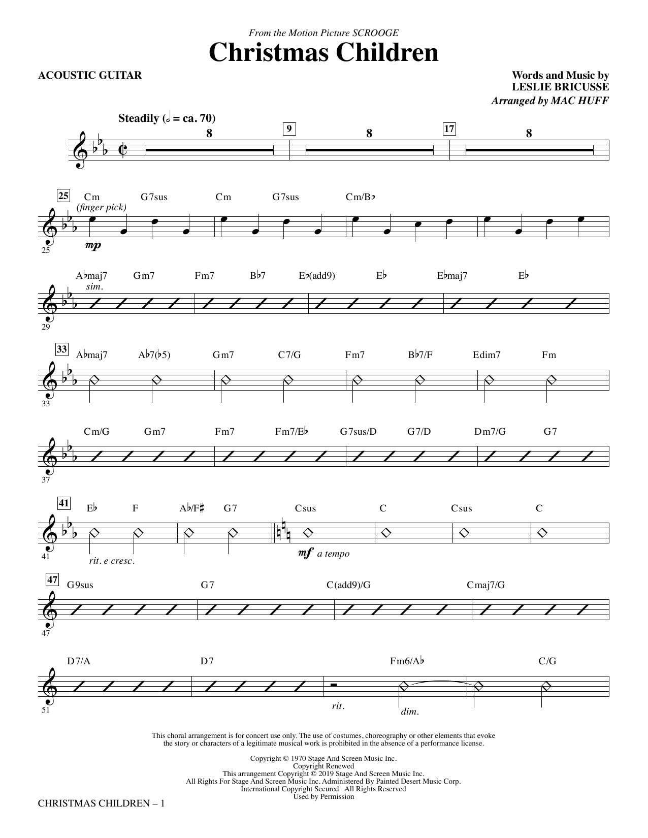Christmas Children (from Scrooge) (arr. Mac Huff) - Acoustic Guitar (Choir Instrumental Pak)