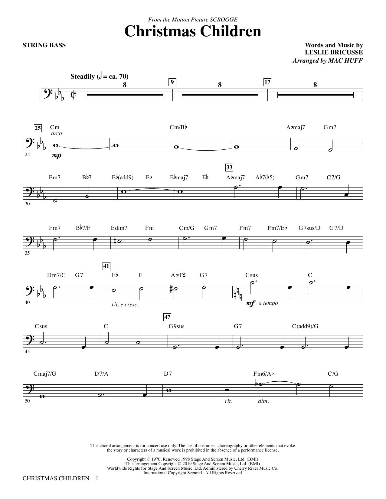Christmas Children (from Scrooge) (arr. Mac Huff) - String Bass (Choir Instrumental Pak)