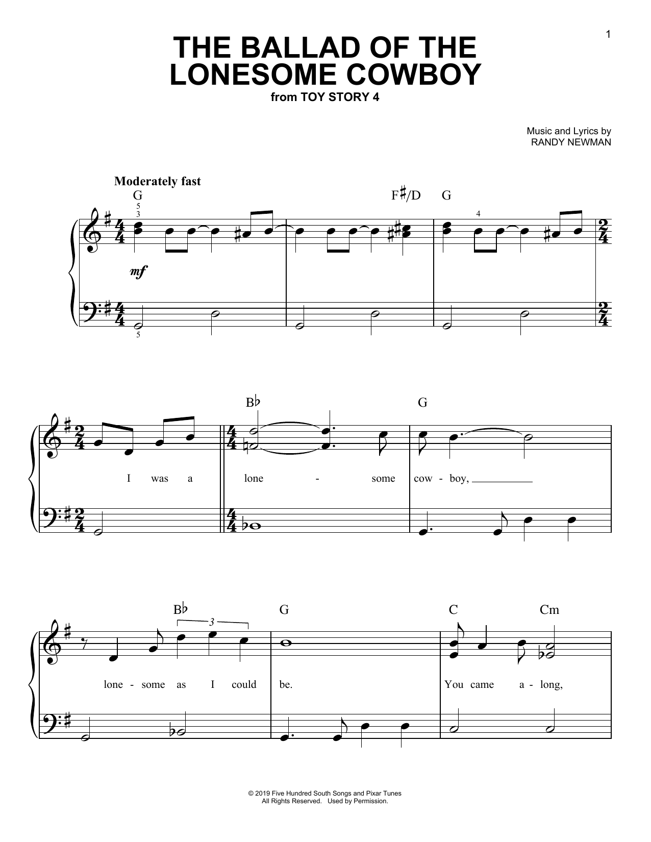 The Ballad Of The Lonesome Cowboy (from Toy Story 4) (Easy Piano)