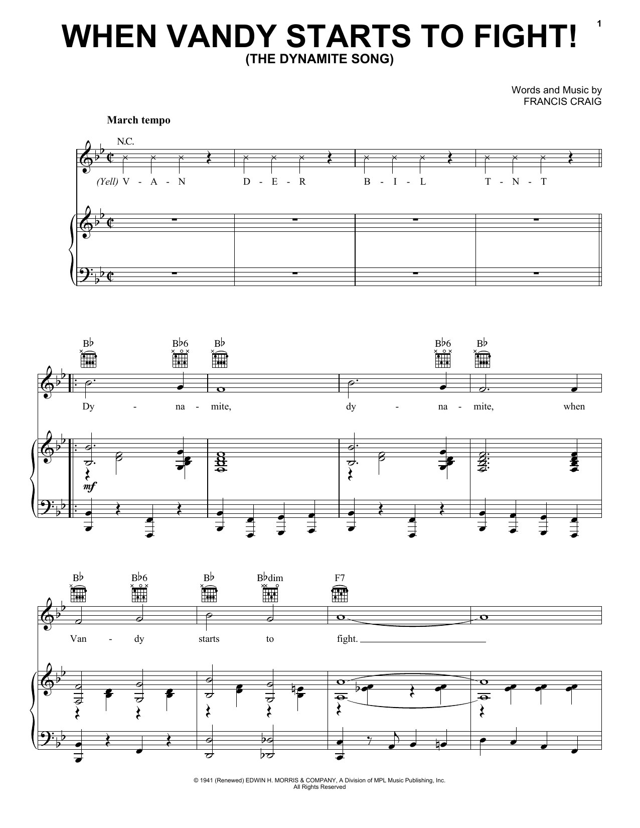 When Vandy Starts To Fight! (The Dynamite Song) (Piano, Vocal & Guitar (Right-Hand Melody))