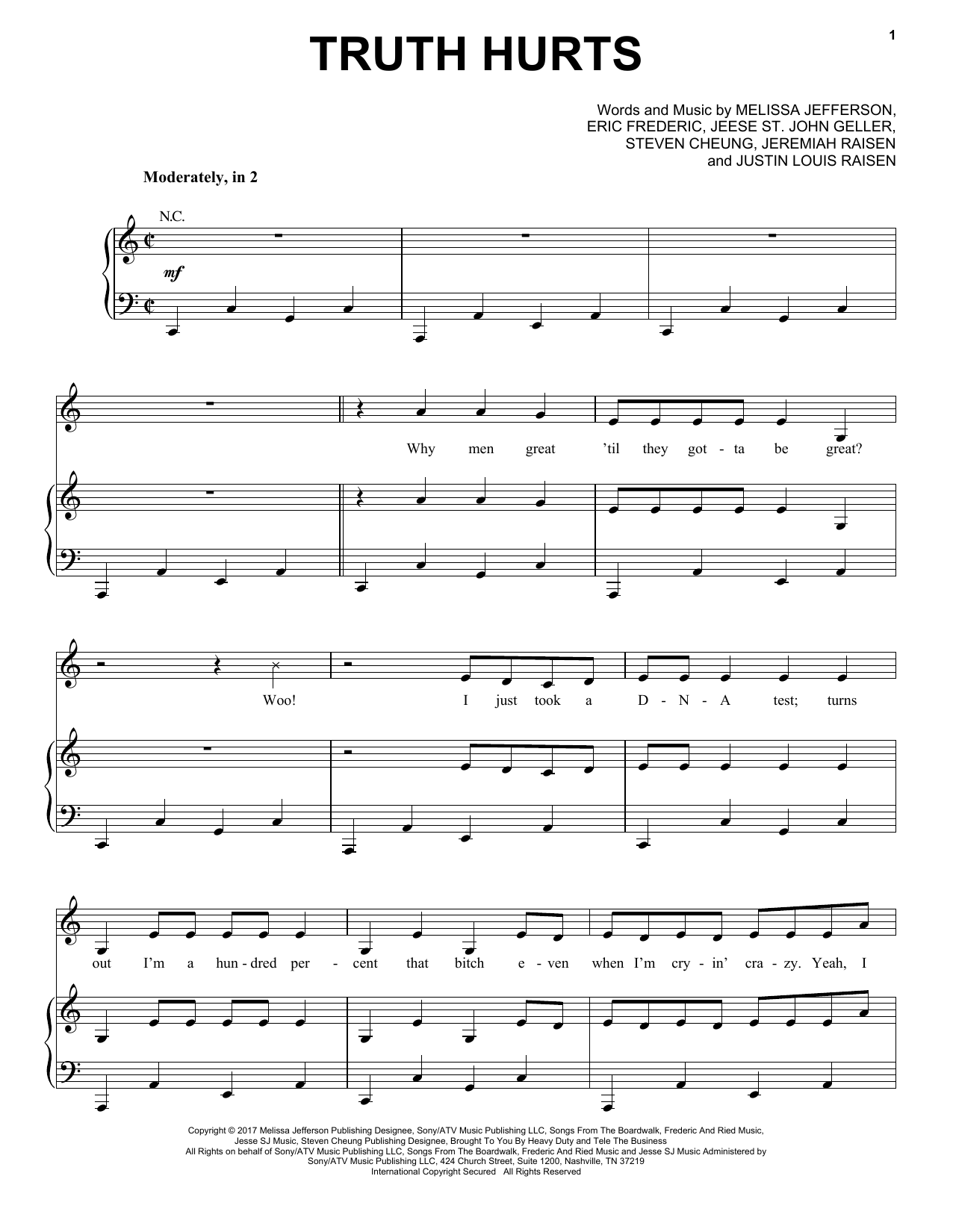 Truth Hurts (Piano, Vocal & Guitar (Right-Hand Melody))