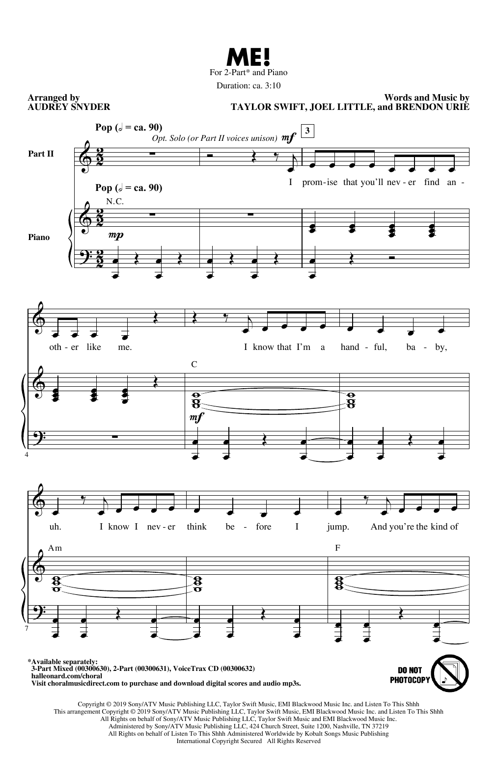 ME! (arr. Audrey Snyder) (2-Part Choir)