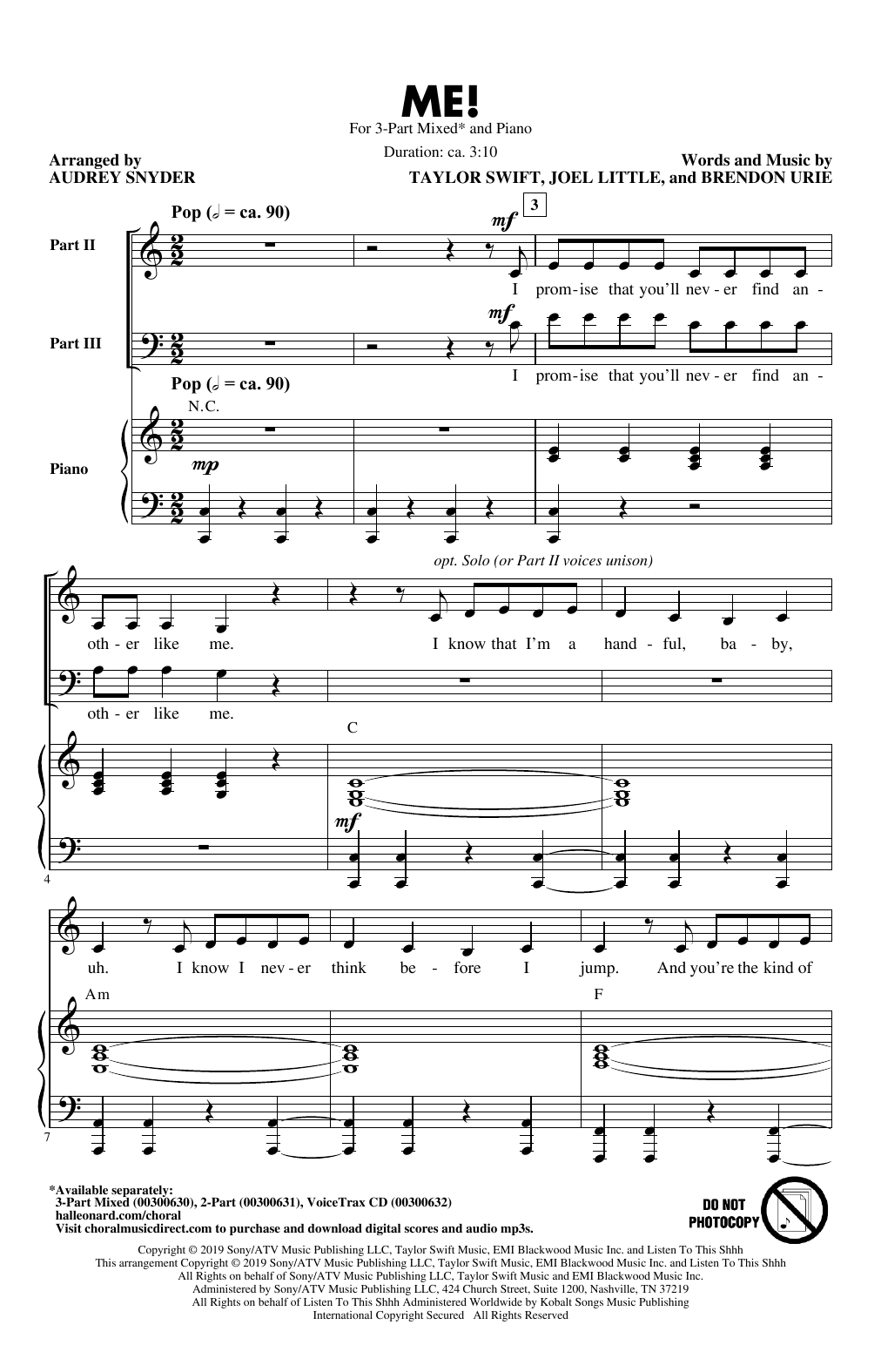 ME! (arr. Audrey Snyder) (3-Part Mixed Choir)