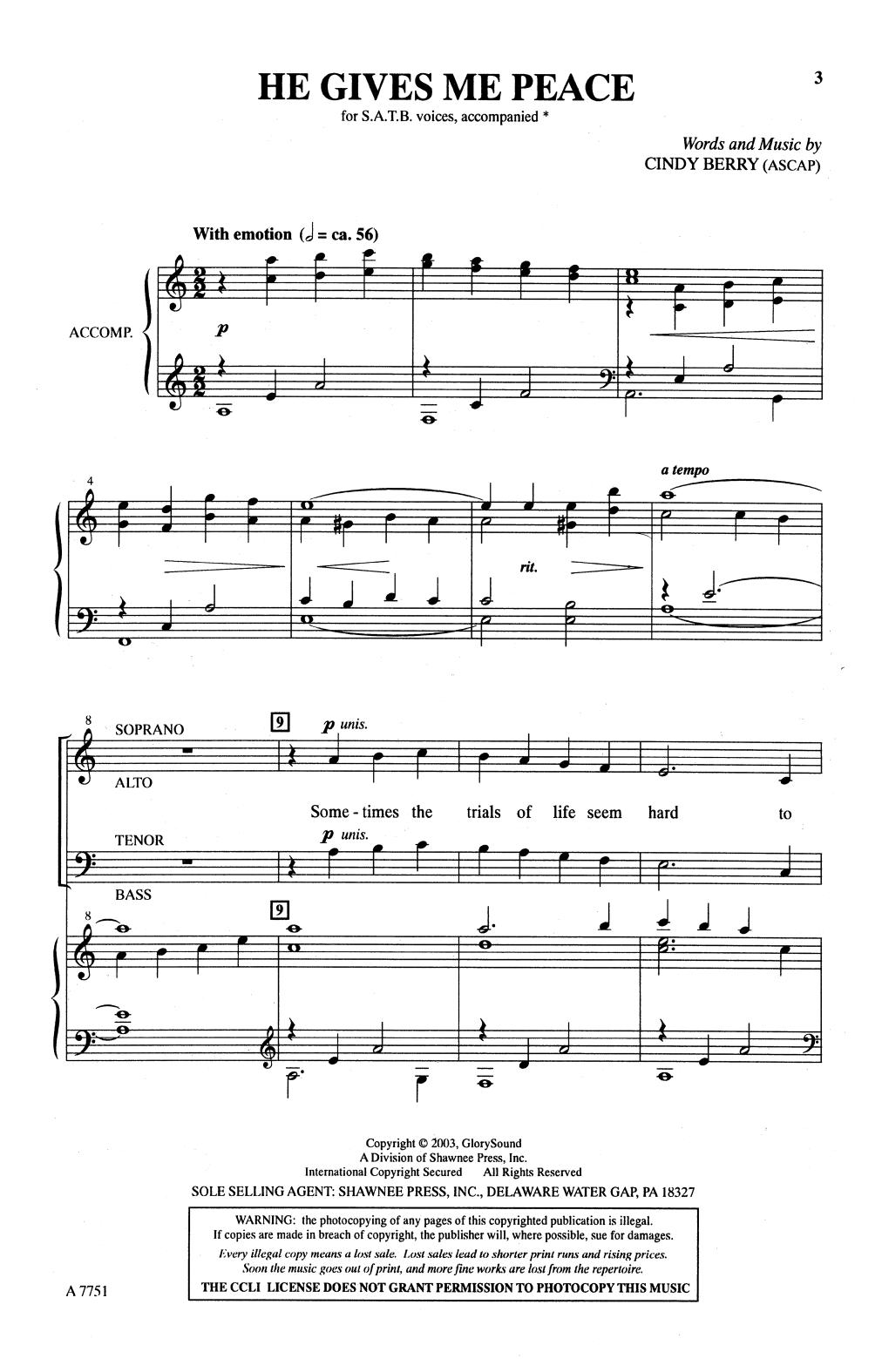 He Gives Me Peace (SATB Choir)
