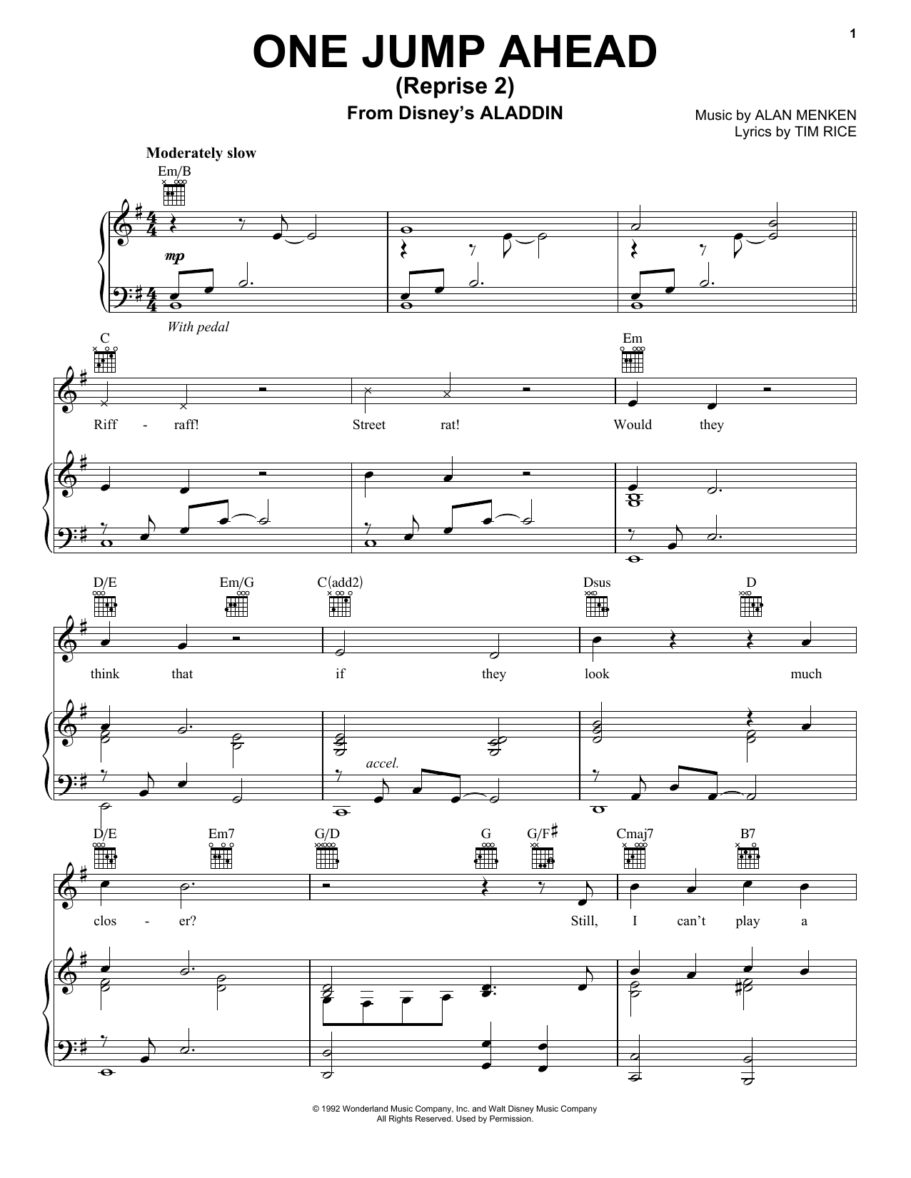 One Jump Ahead (Reprise 2) (from Disney's Aladdin) (Piano, Vocal & Guitar (Right-Hand Melody))