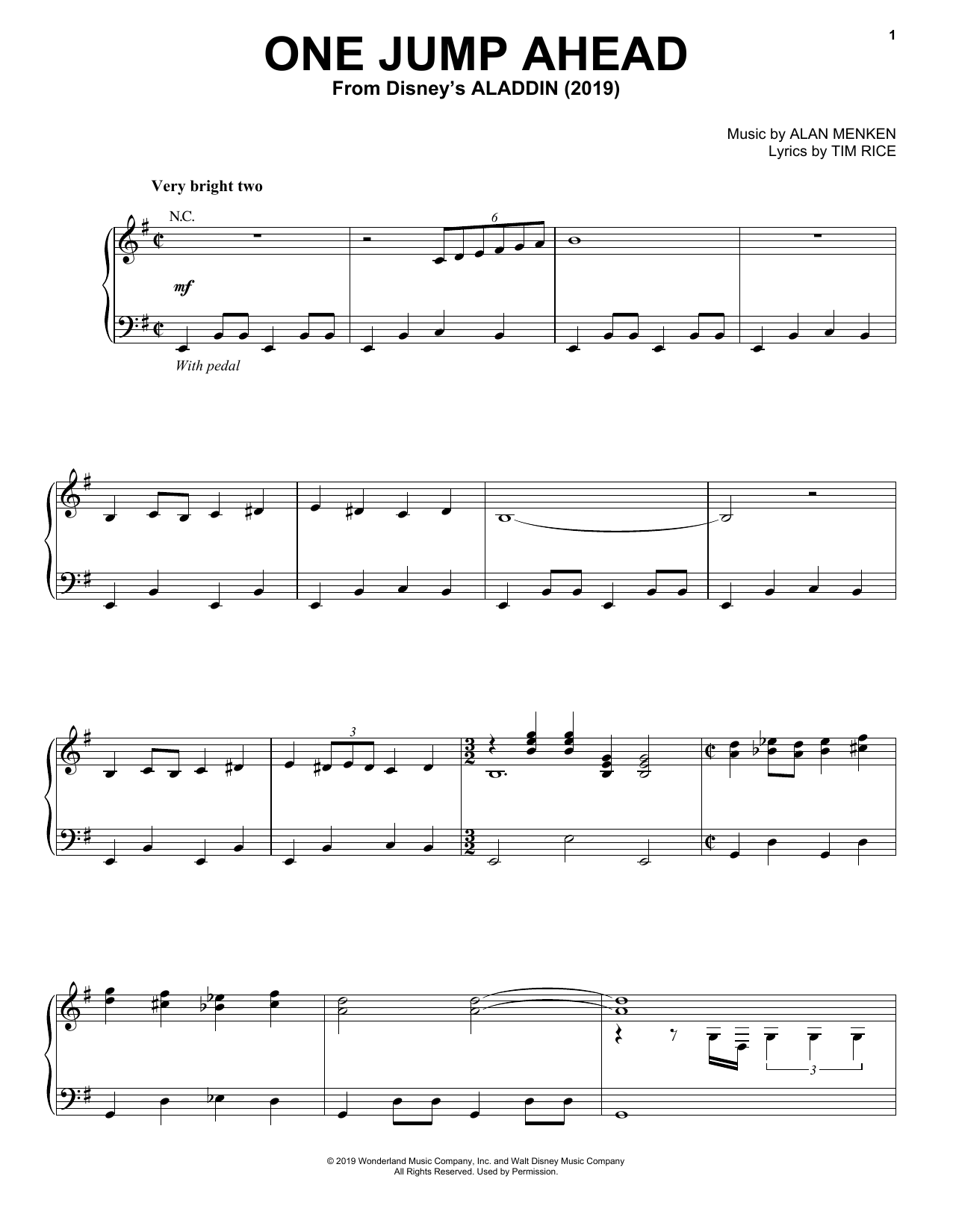 One Jump Ahead (from Disney's Aladdin) (Piano, Vocal & Guitar (Right-Hand Melody))
