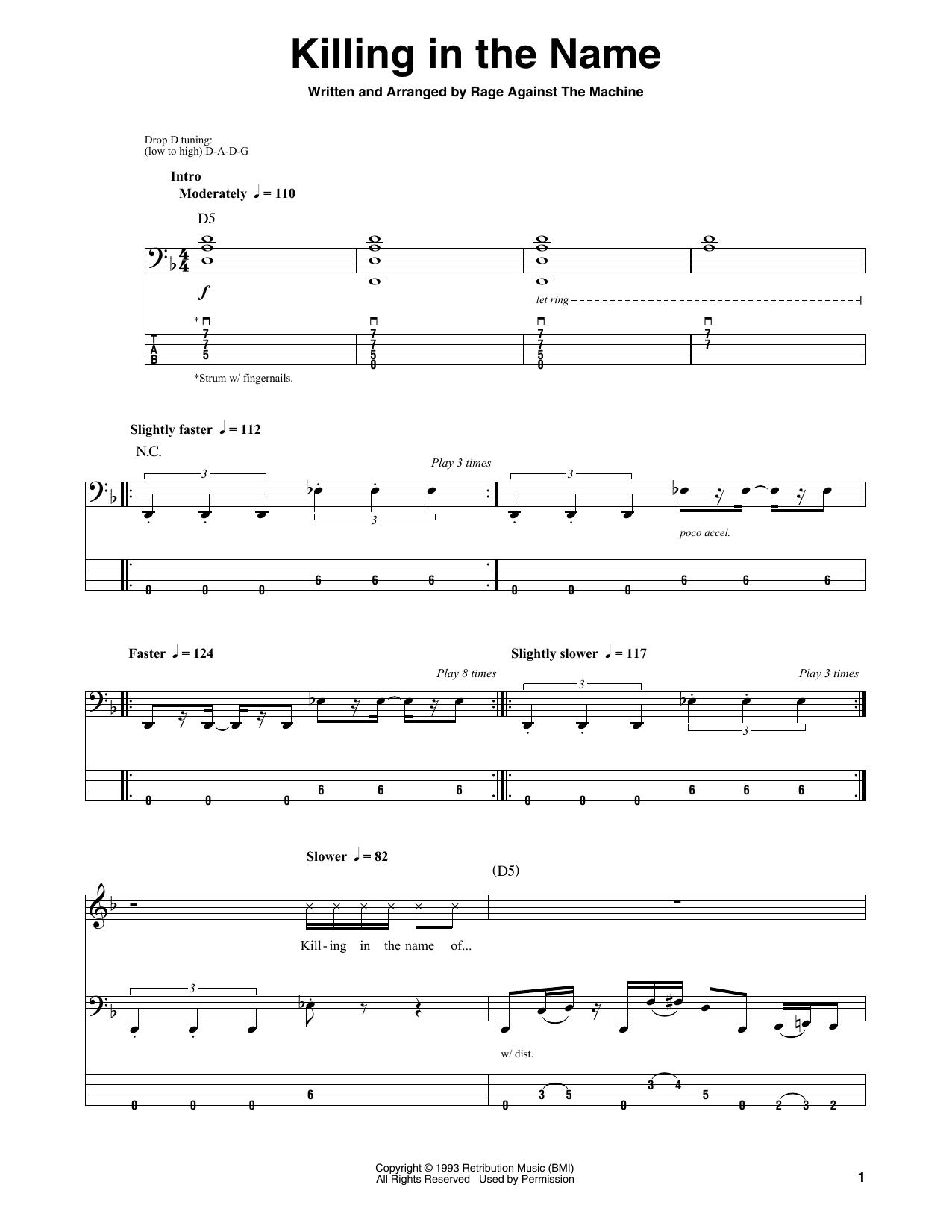 Killing In The Name (Bass Guitar Tab)