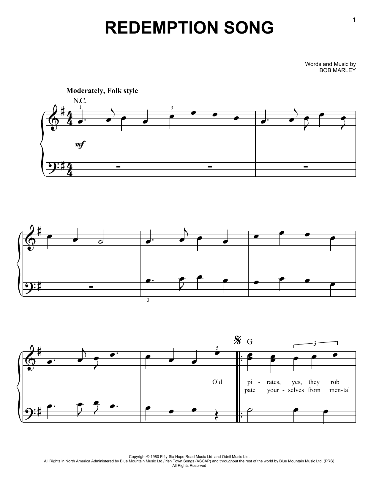 Redemption Song (Very Easy Piano)