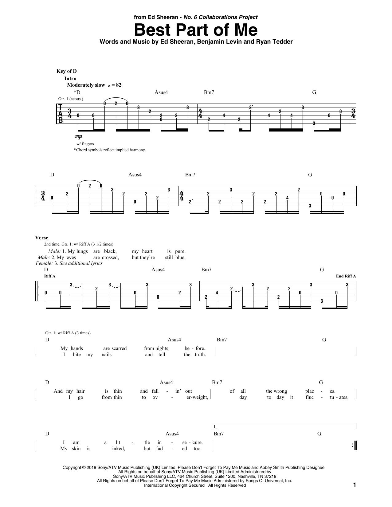 Best Part Of Me Feat Yebba Noten Ed Sheeran Gitarre Rhythmus Tabulatur