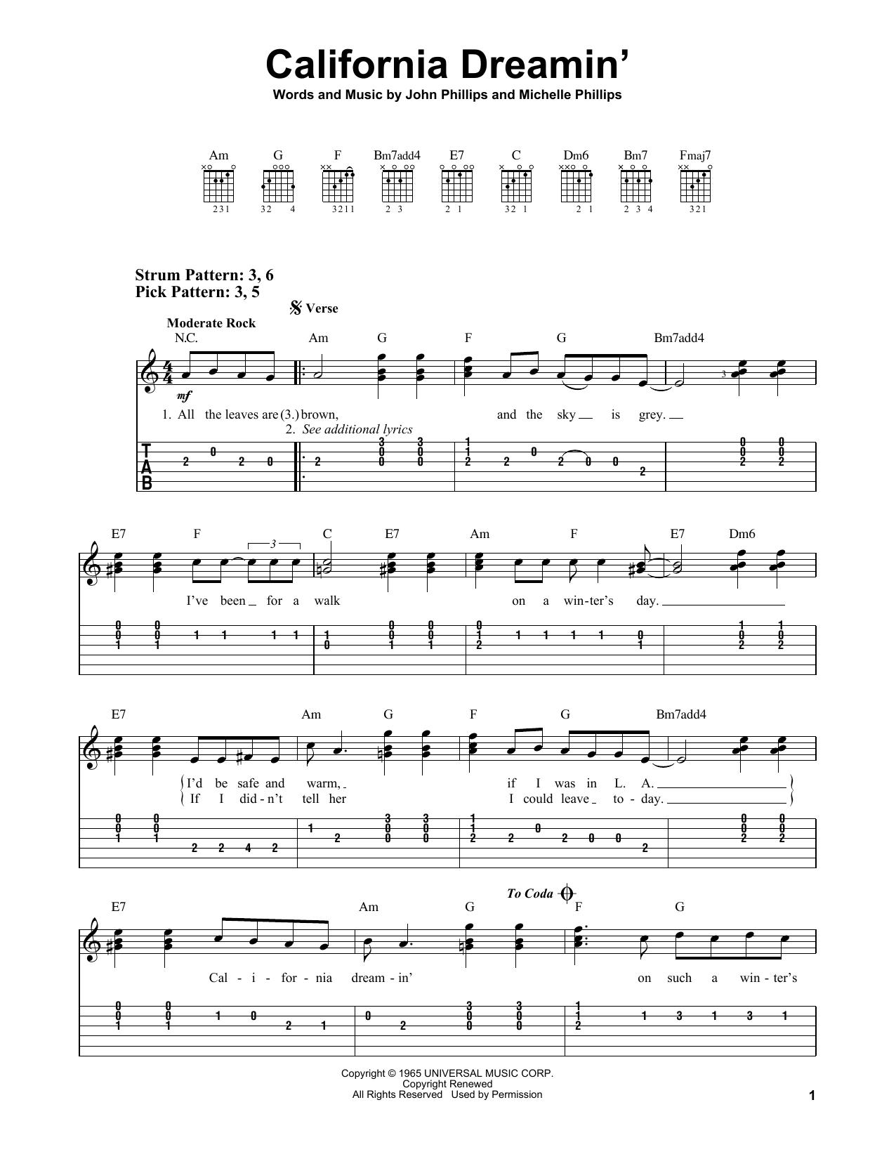 California Dreamin' (Easy Guitar Tab)