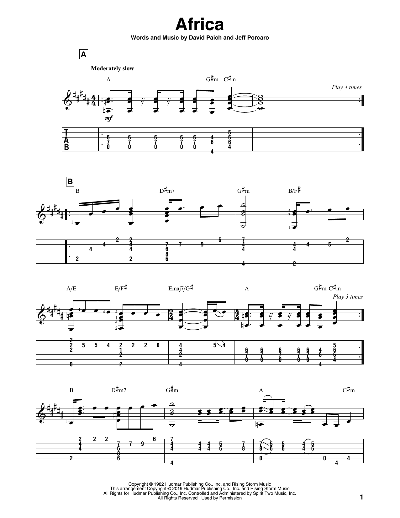 Africa (Solo Guitar Tab)