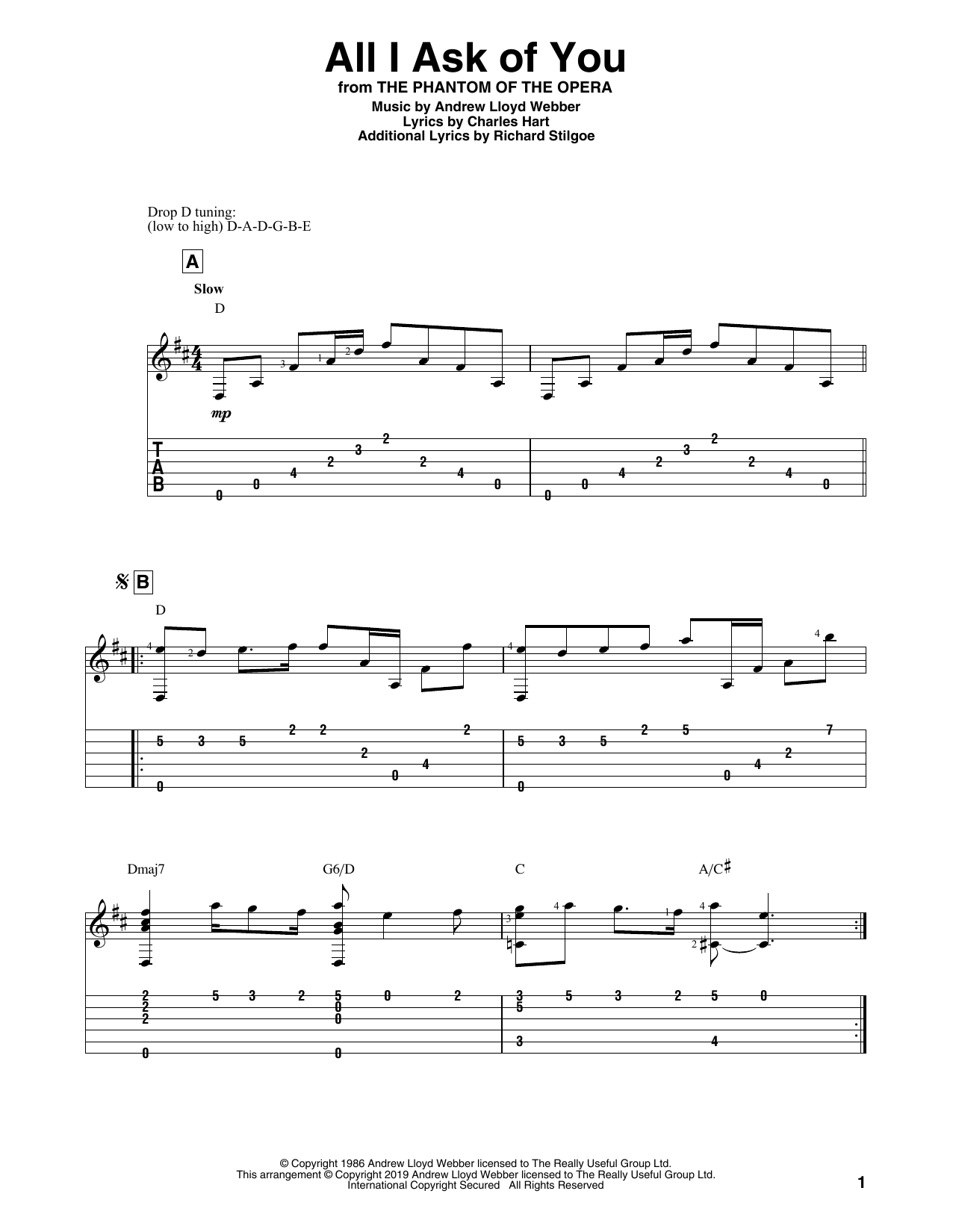 All I Ask Of You (from The Phantom Of The Opera) (Solo Guitar Tab)