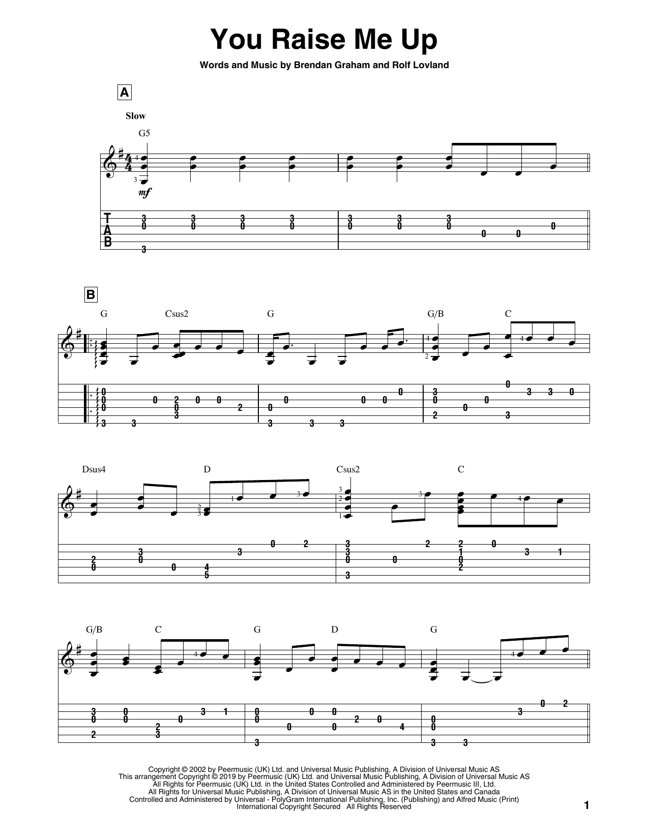 You Raise Me Up (Solo Guitar Tab)