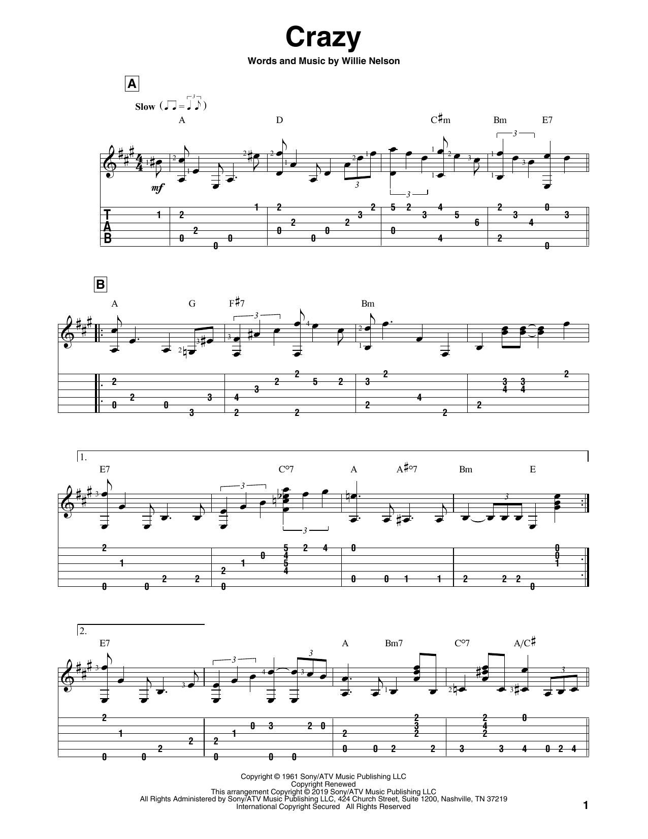 Crazy (Solo Guitar Tab)