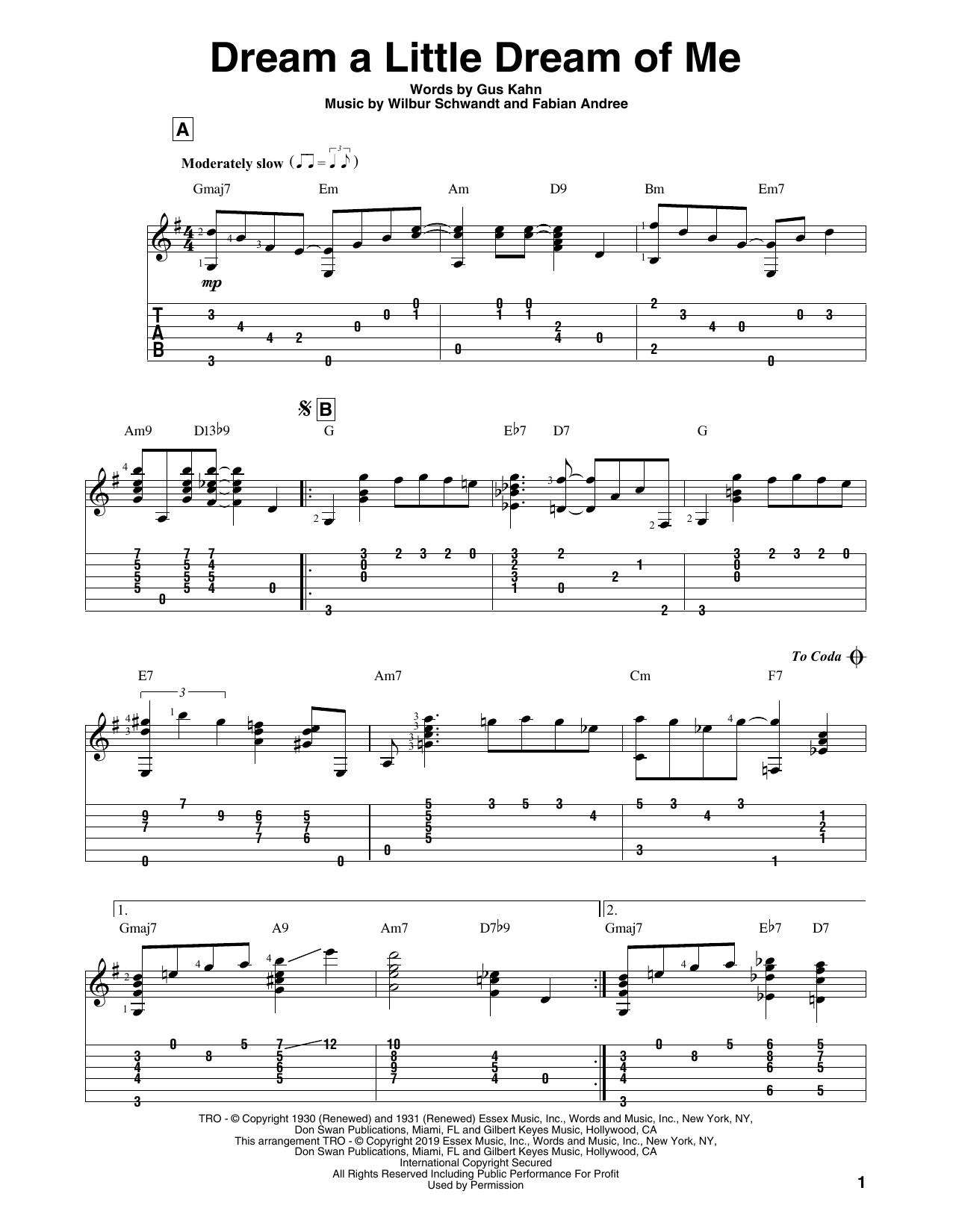 Dream A Little Dream Of Me (Solo Guitar Tab)