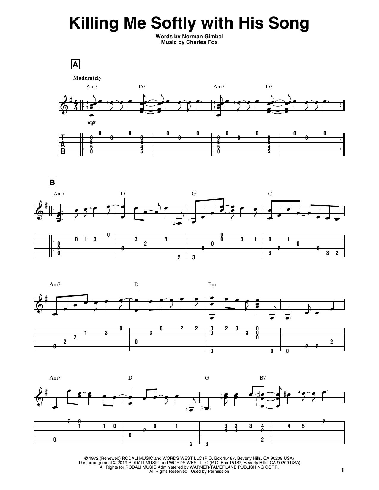 Killing Me Softly With His Song (Solo Guitar Tab)