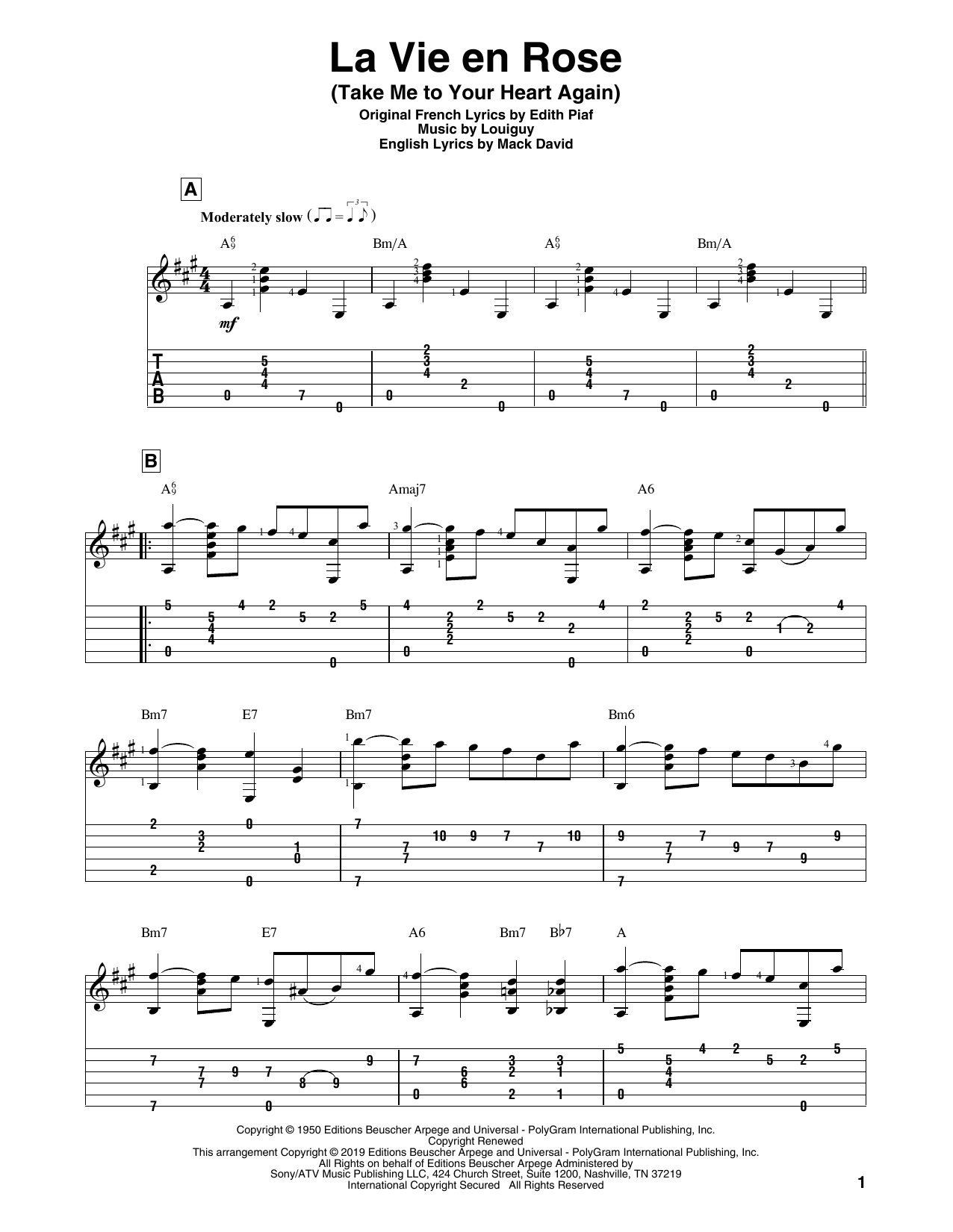 La Vie En Rose (Take Me To Your Heart Again) (Solo Guitar Tab)