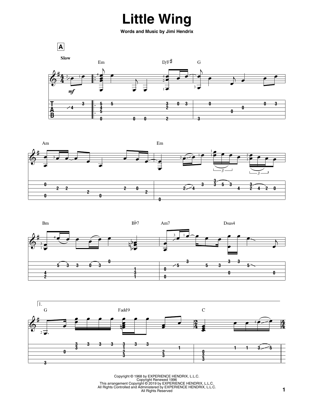 Little Wing (Solo Guitar Tab)