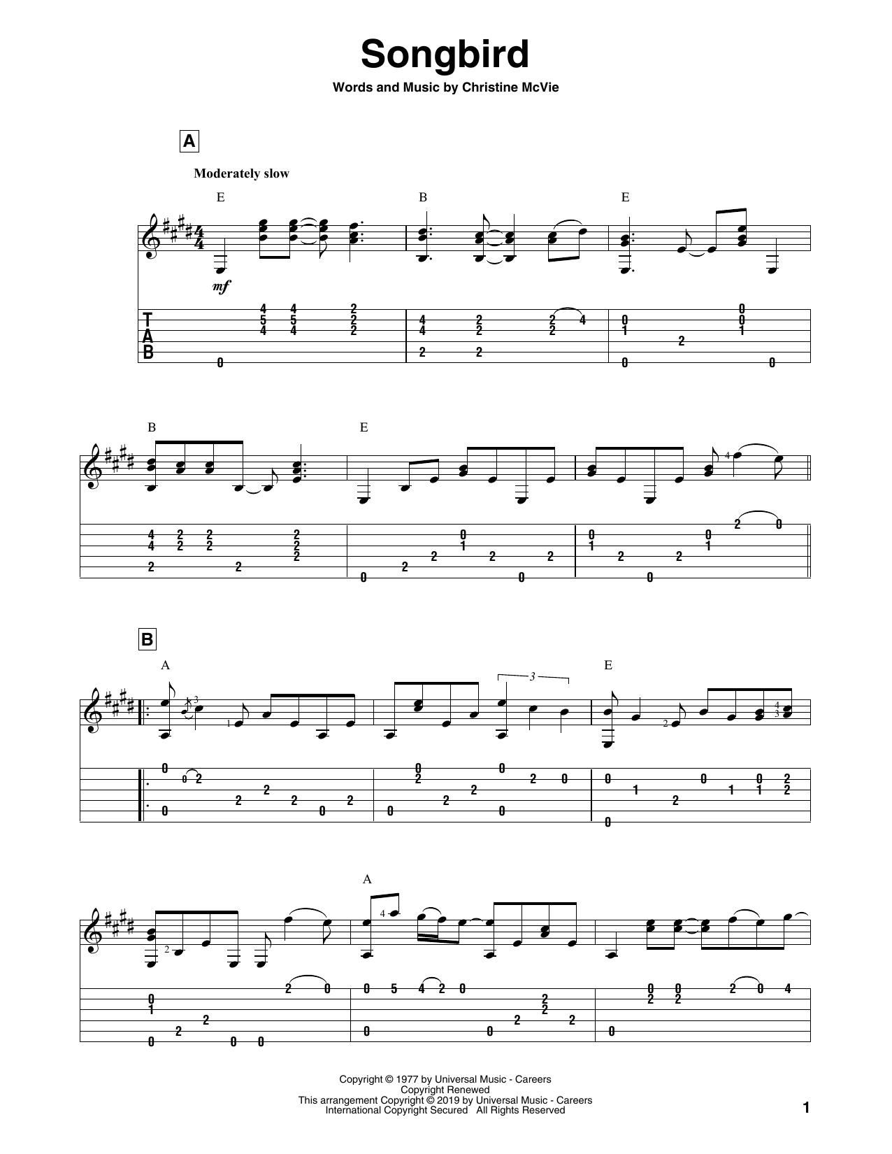 Songbird (Solo Guitar)