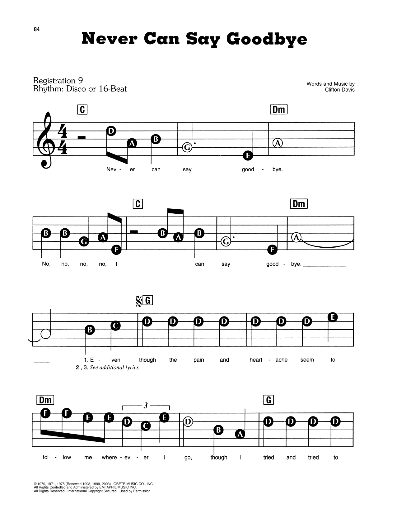 Never Can Say Goodbye Sheet Music