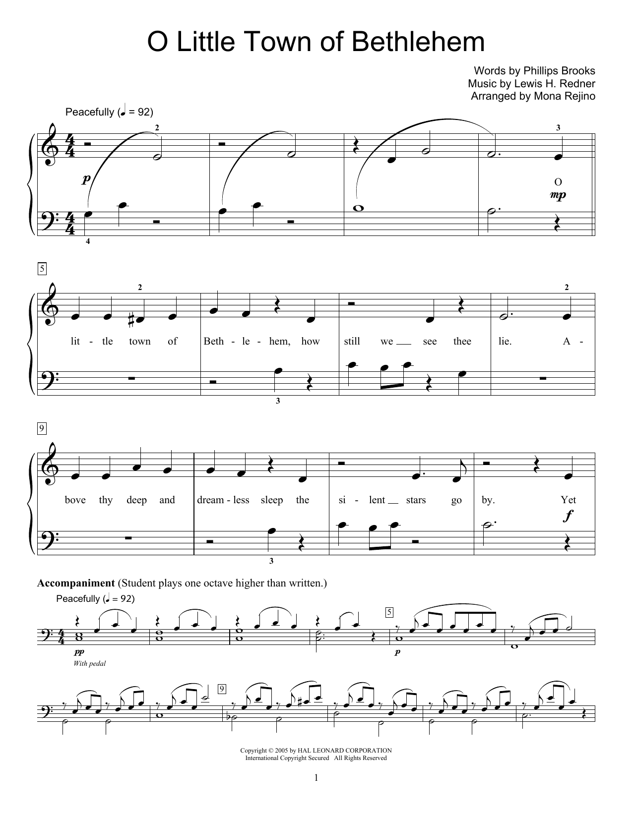 O Little Town Of Bethlehem Sheet Music By Lewis H Redner