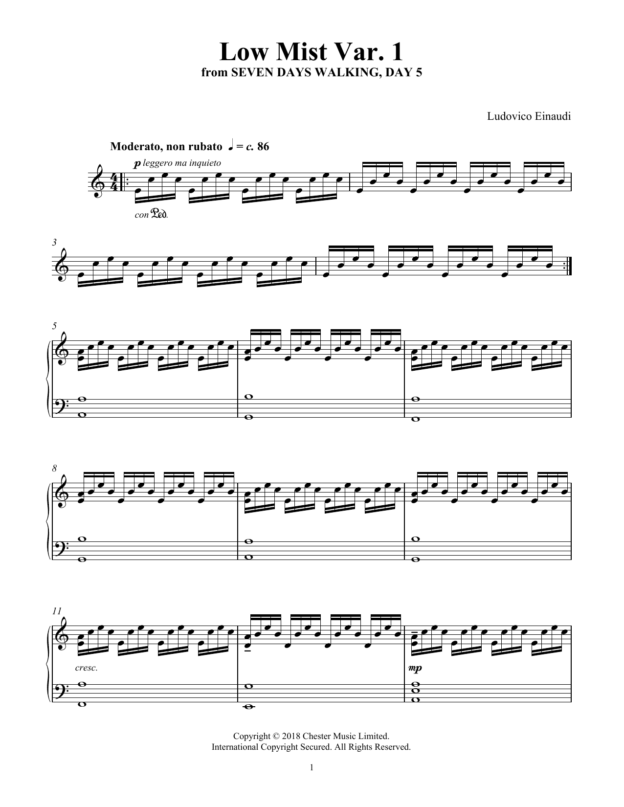 Low Mist Var. 1 (from Seven Days Walking: Day 5) (Piano Solo)