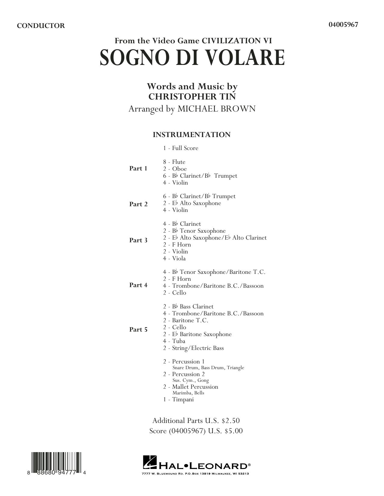 Sogno di Volare (from Civilization VI) (arr. Michael Brown) - Conductor Score (Full Score) (Concert Band: Flex-Band)