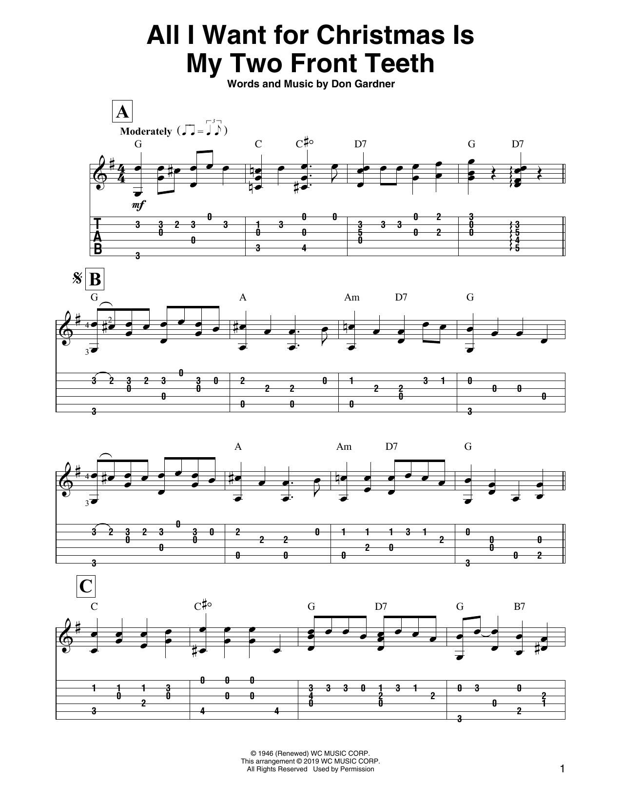 All I Want For Christmas Is My Two Front Teeth (Solo Guitar Tab)
