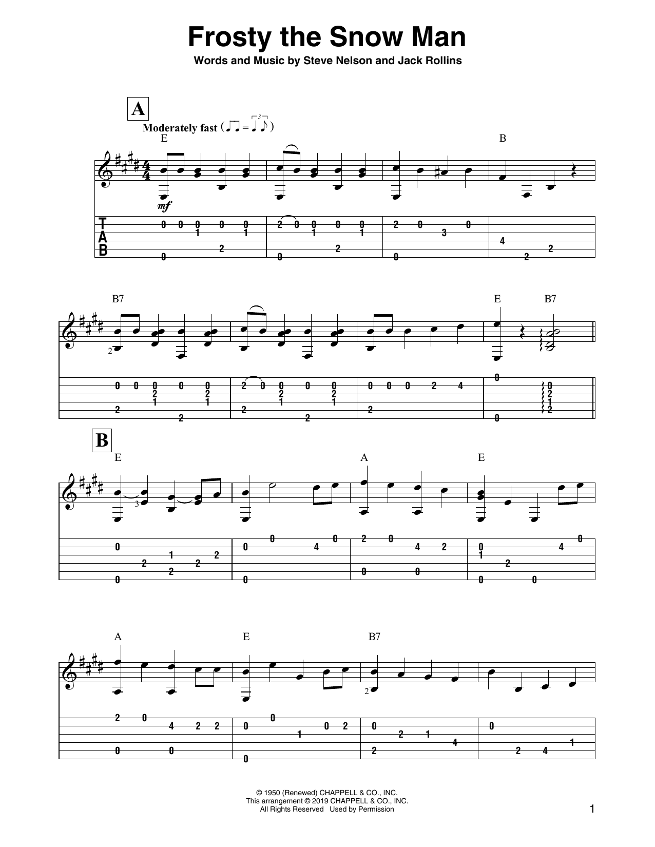 Frosty The Snow Man (Solo Guitar Tab)