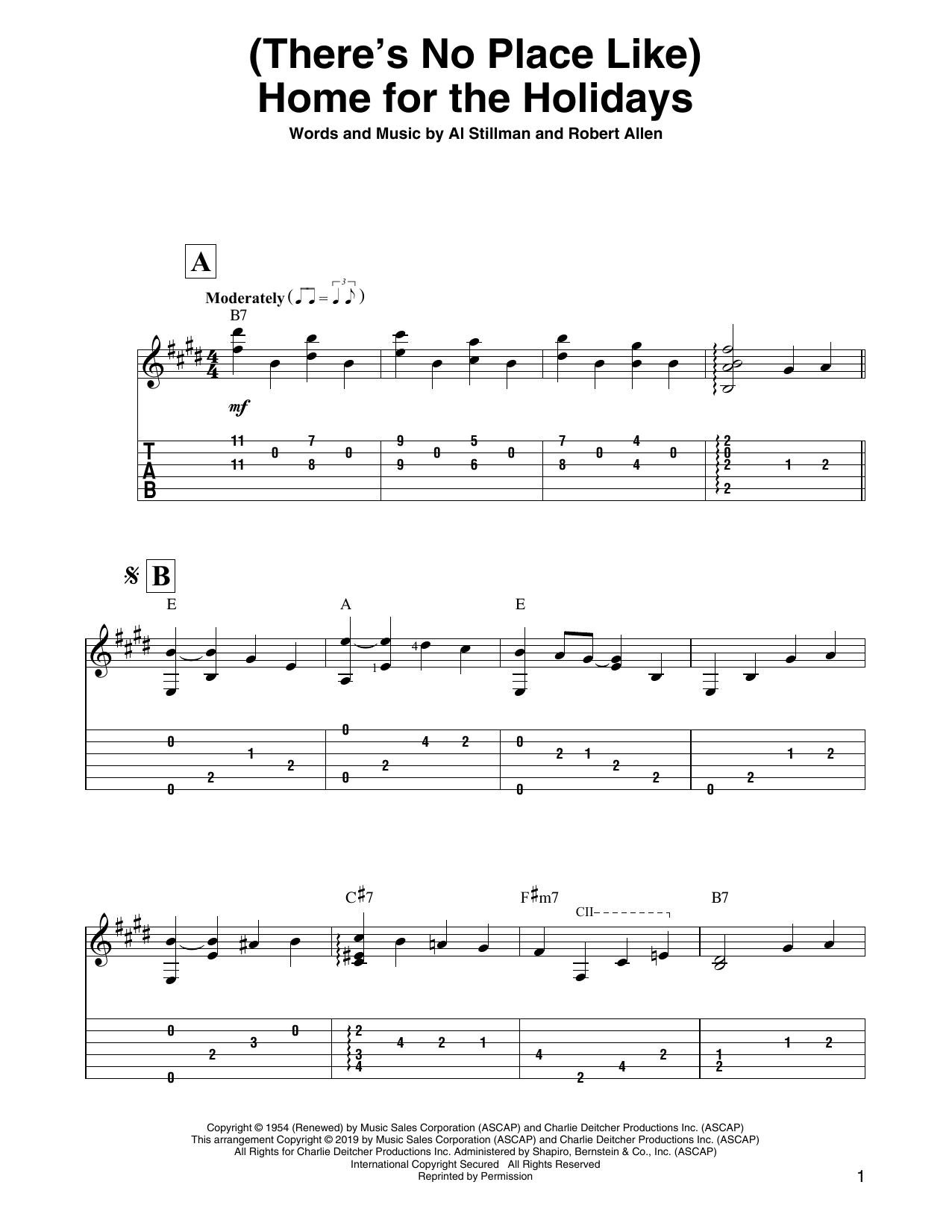 (There's No Place Like) Home For The Holidays (Solo Guitar Tab)