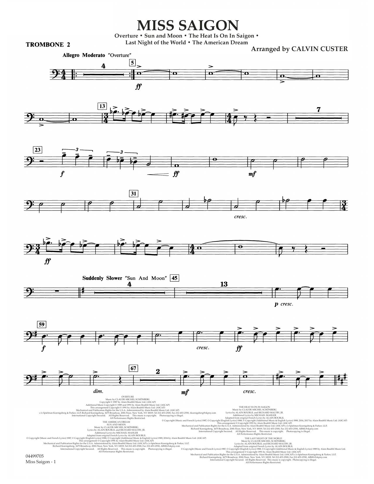Miss Saigon (arr. Calvin Custer) - Trombone 2 (Full Orchestra)