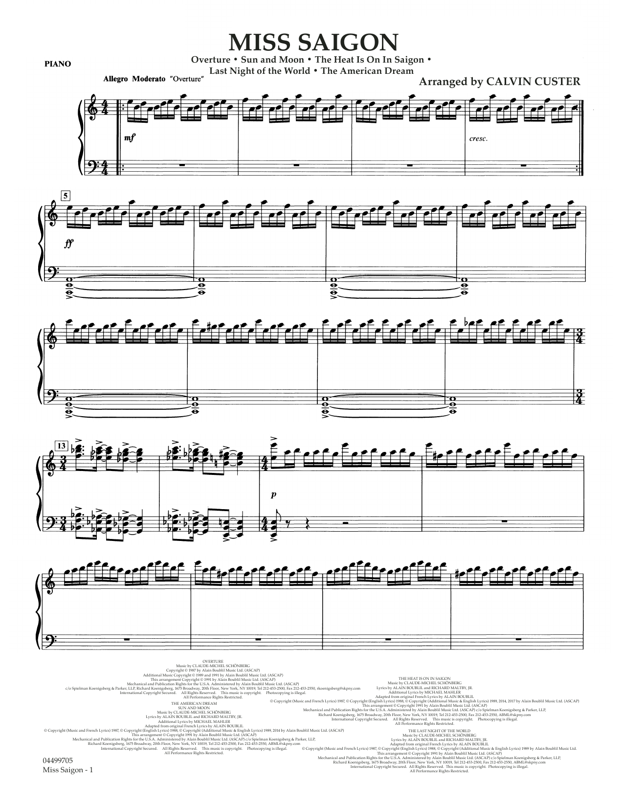 Miss Saigon (arr. Calvin Custer) - Piano (Full Orchestra)