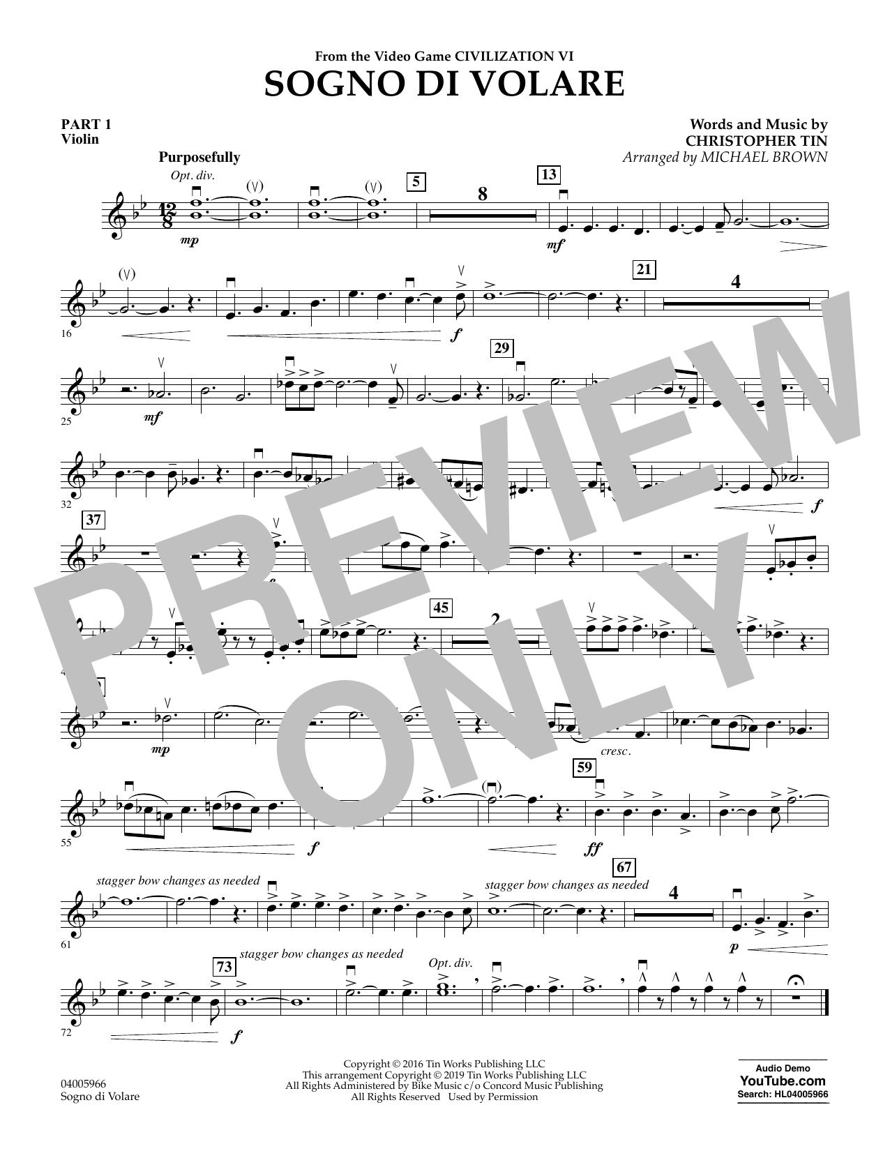 Sogno di Volare (from Civilization VI) (arr. Michael Brown) - Pt.1 - Violin (Flex-Band)