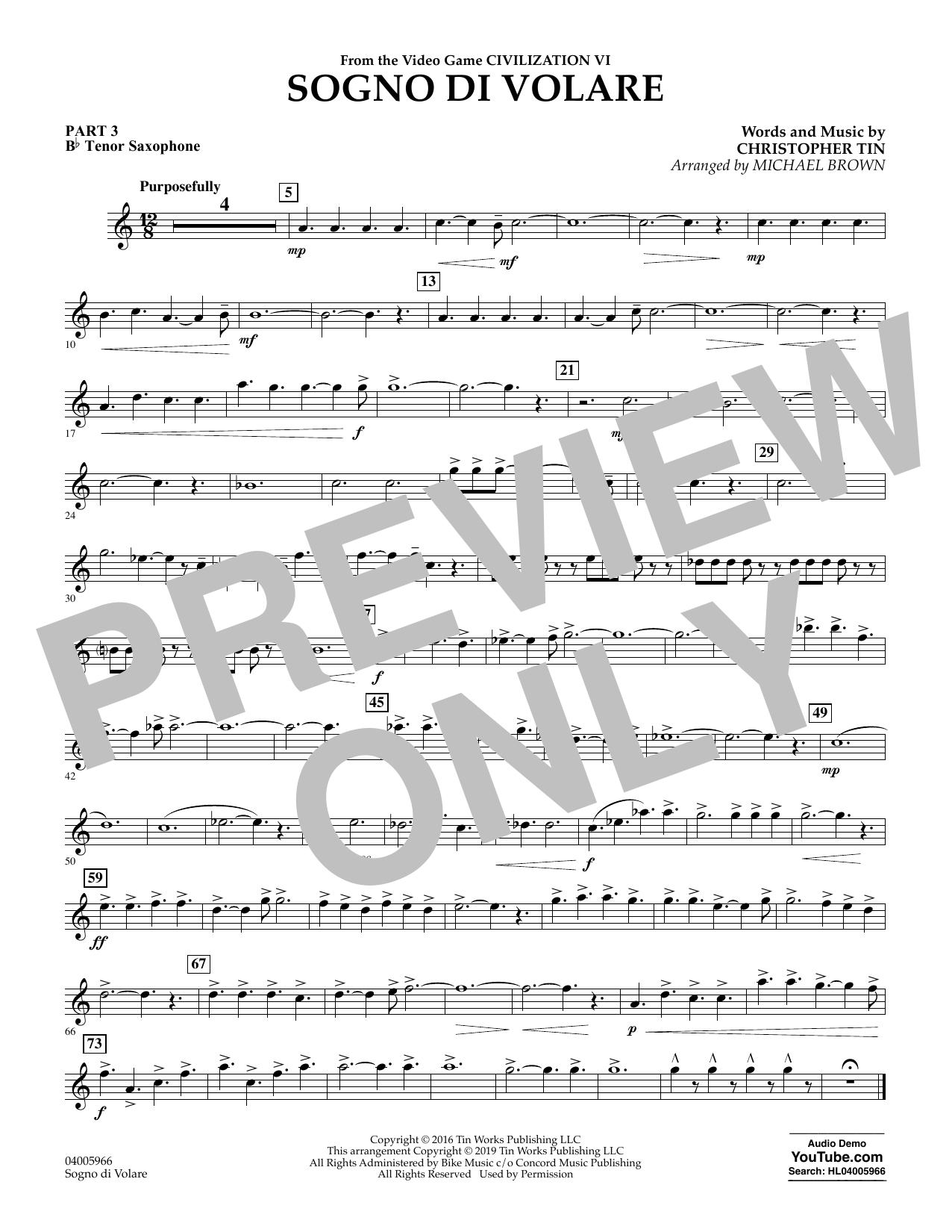 Sogno di Volare (from Civilization VI) (arr. Michael Brown) - Pt.3 - Bb Tenor Saxophone (Flex-Band)