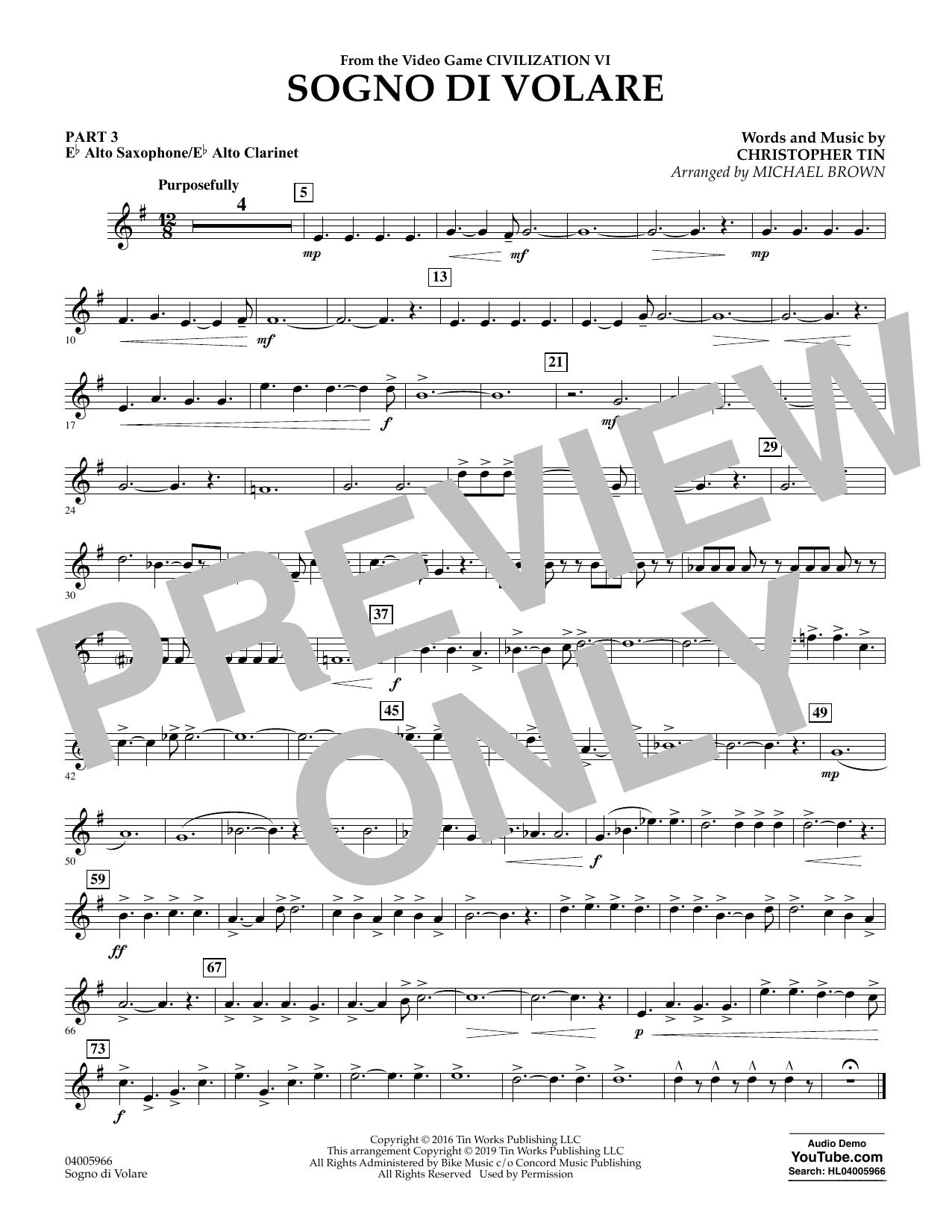 Sogno di Volare (from Civilization VI) (arr. Michael Brown) - Pt.3 - Eb Alto Sax/Alto Clar. (Flex-Band)