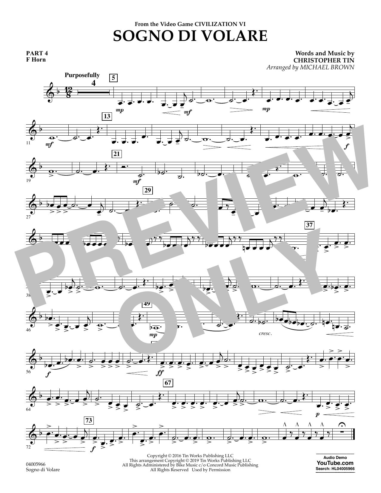 Sogno di Volare (from Civilization VI) (arr. Michael Brown) - Pt.4 - F Horn (Flex-Band)