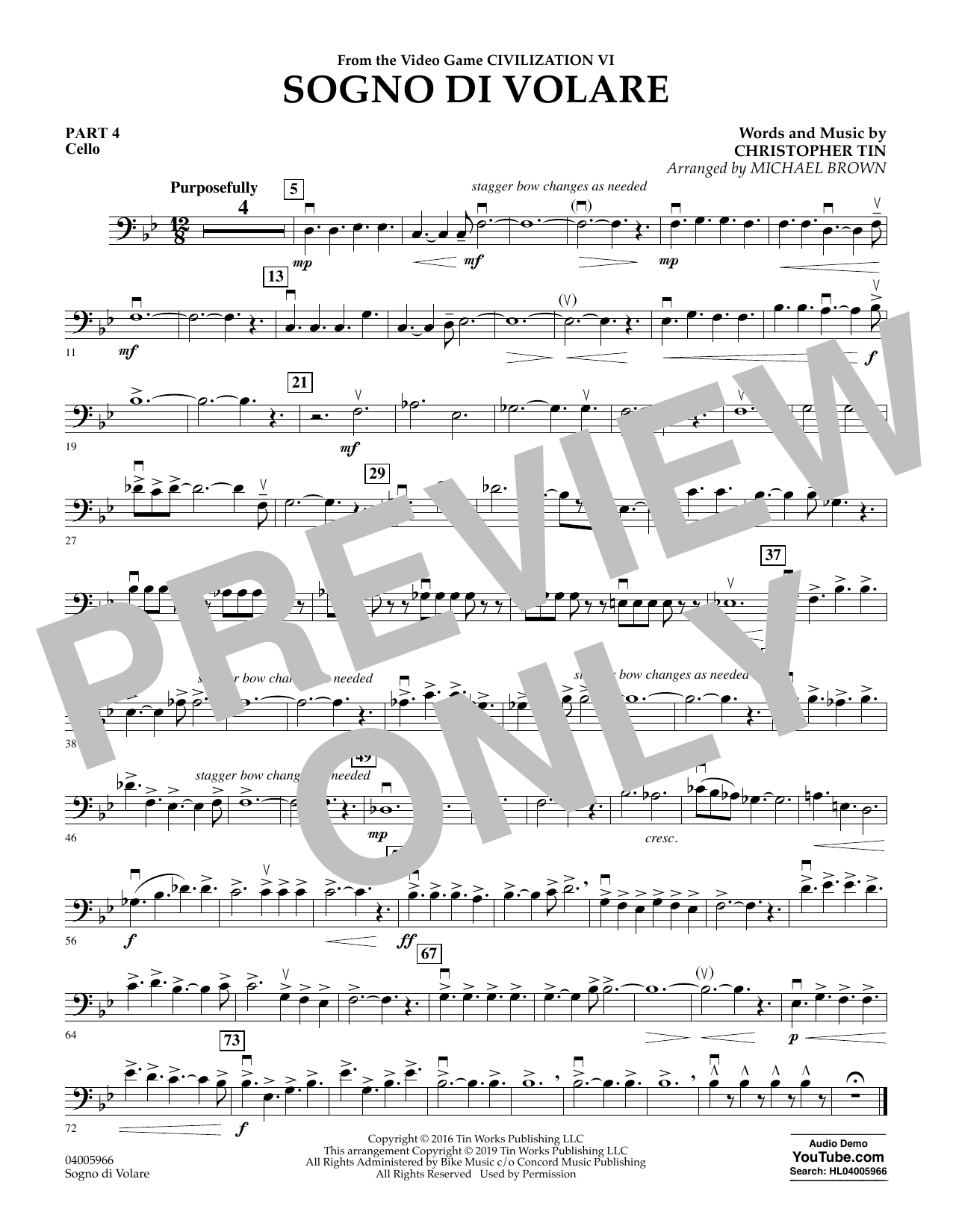 Sogno di Volare (from Civilization VI) (arr. Michael Brown) - Pt.4 - Cello (Flex-Band)