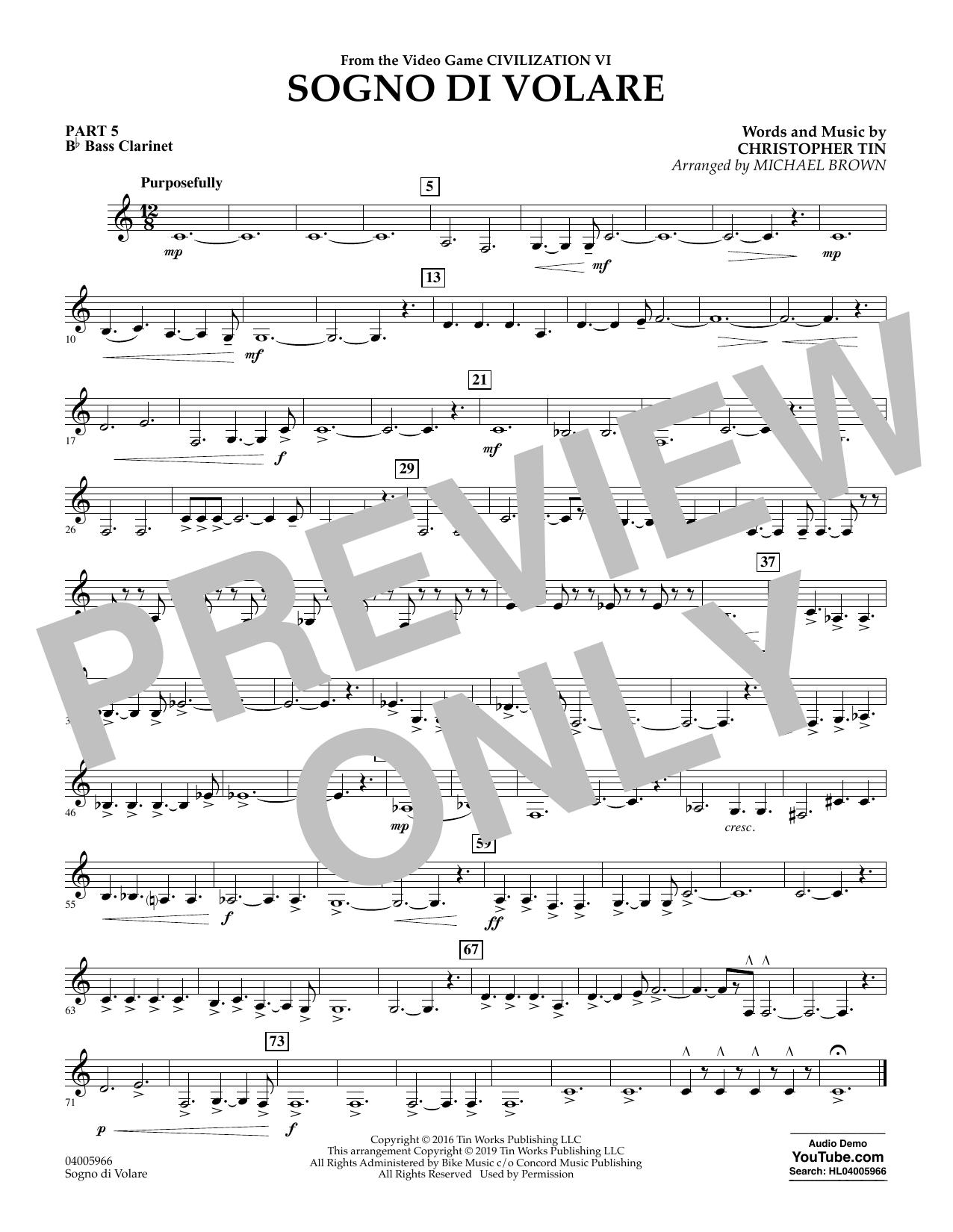 Sogno di Volare (from Civilization VI) (arr. Michael Brown) - Pt.5 - Bb Bass Clarinet (Flex-Band)