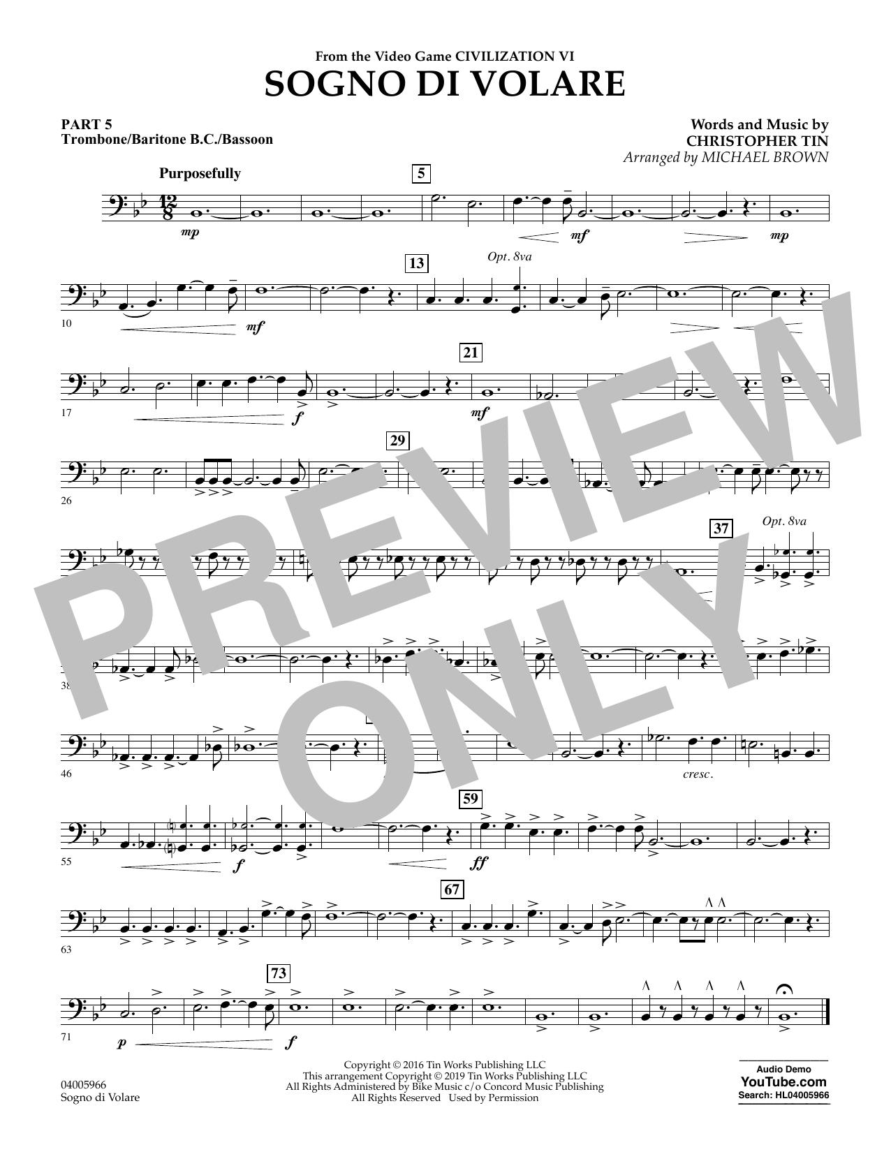 Sogno di Volare (from Civilization VI) (arr. Michael Brown) - Pt.5 - Trombone/Bar. B.C./Bsn. (Flex-Band)