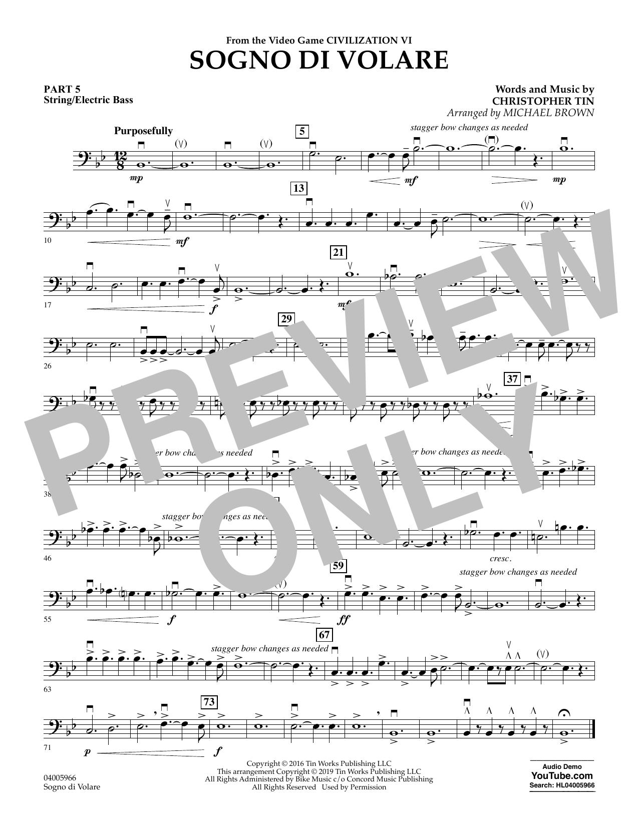 Sogno di Volare (from Civilization VI) (arr. Michael Brown) - Pt.5 - String/Electric Bass (Flex-Band)