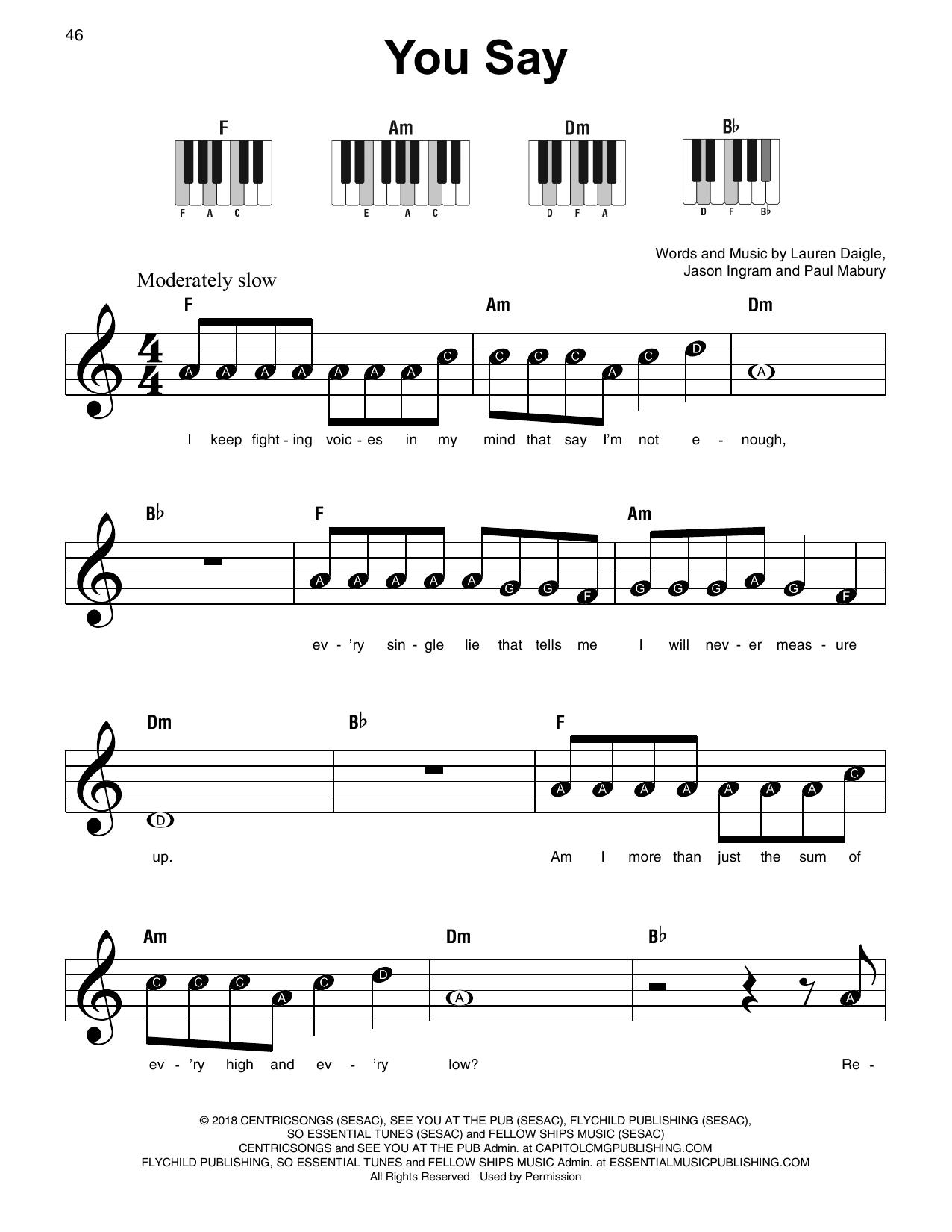 You Say (Super Easy Piano)