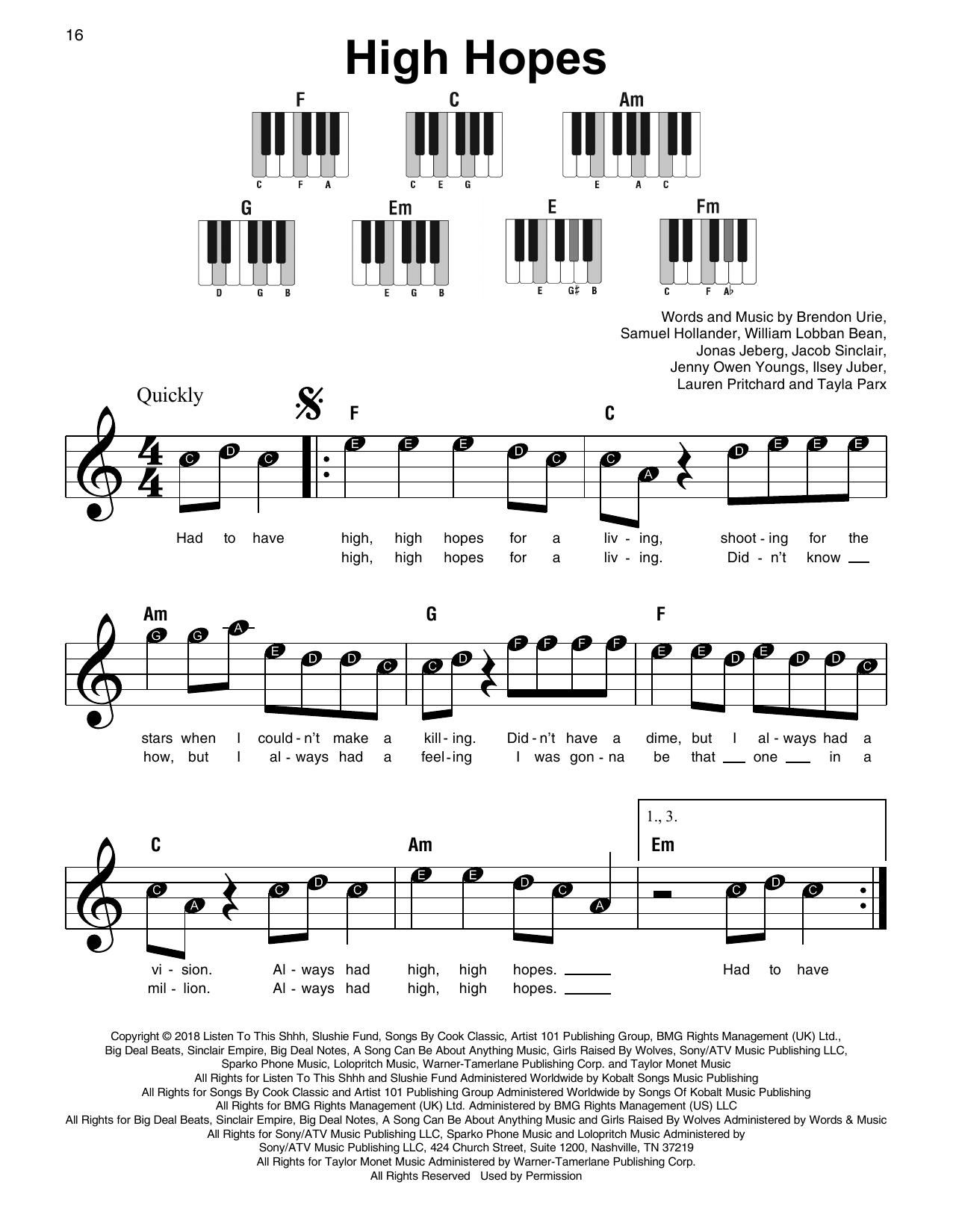 High Hopes (Super Easy Piano)