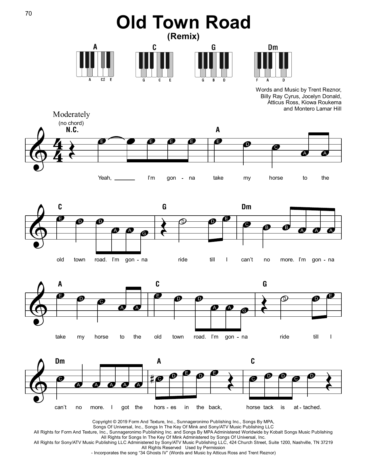 Old Town Road Remix By Lil Nas X Feat Billy Ray Cyrus Piano Vocal Guitar Right Hand Melody Digital Sheet Music