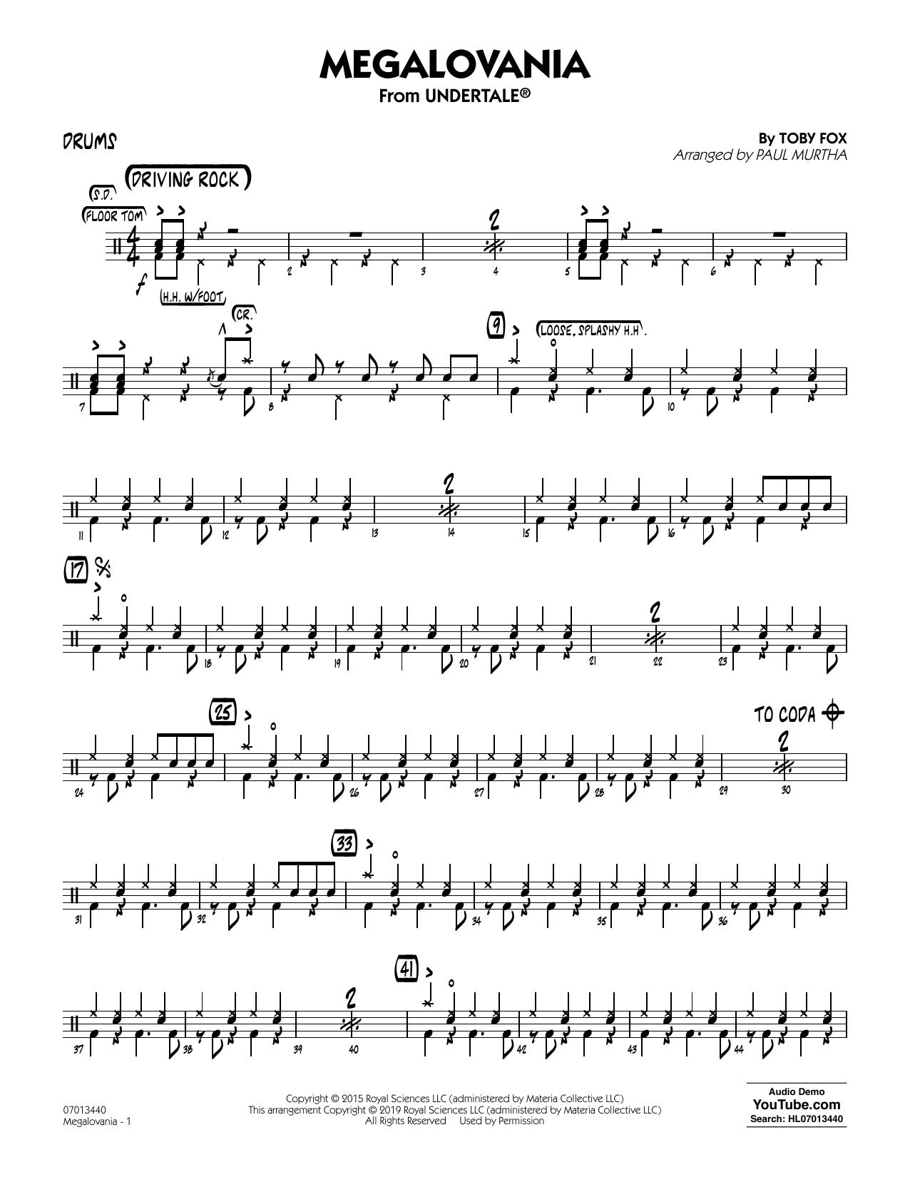 Megalovania (arr  Paul Murtha) - Drums by Toby Fox Jazz Ensemble Digital  Sheet Music